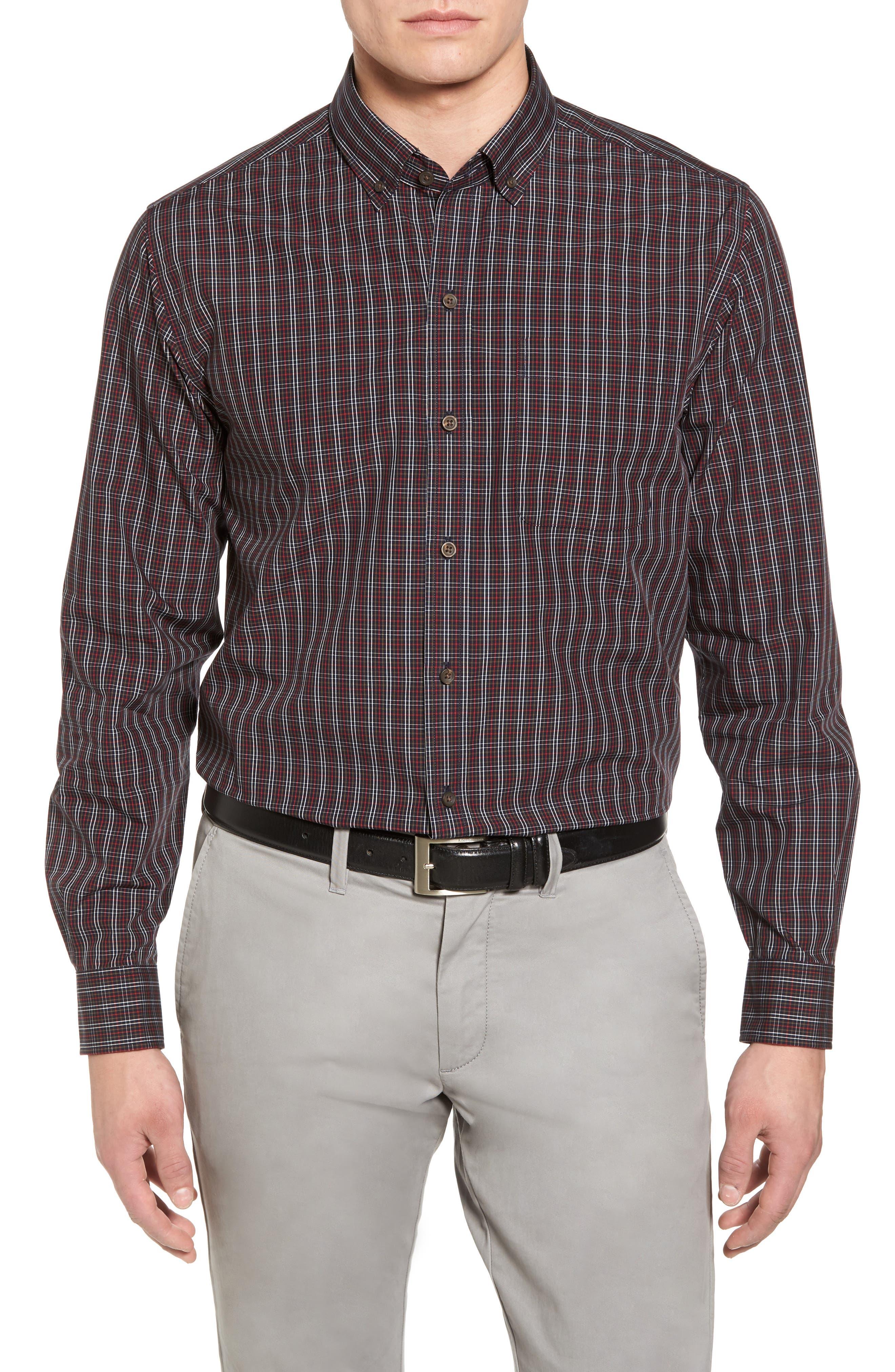 Cavanah Non-Iron Plaid Sport Shirt,                         Main,                         color, 493
