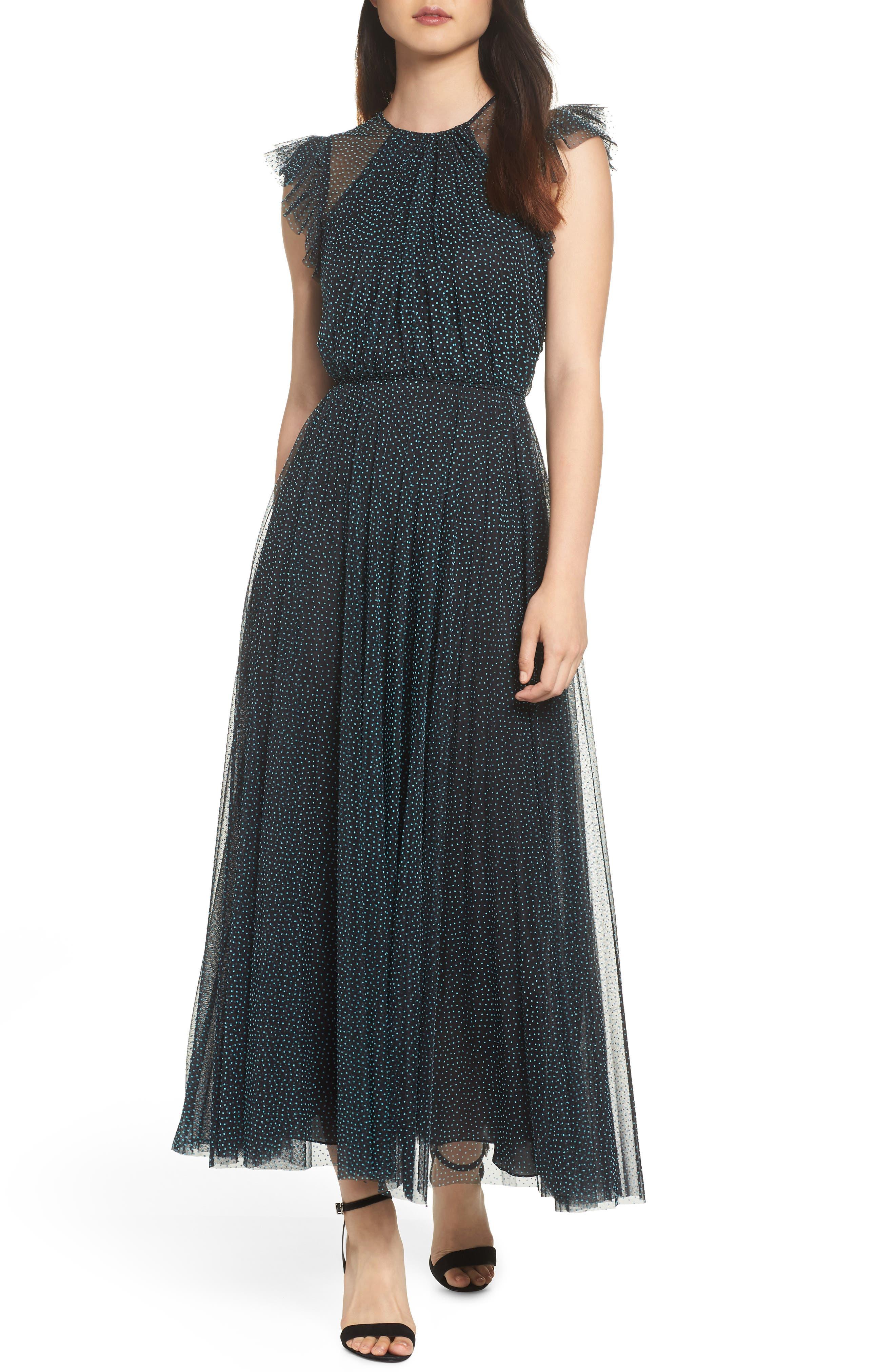 Flocked Dot Tulle Dress in Black/ Lagoon