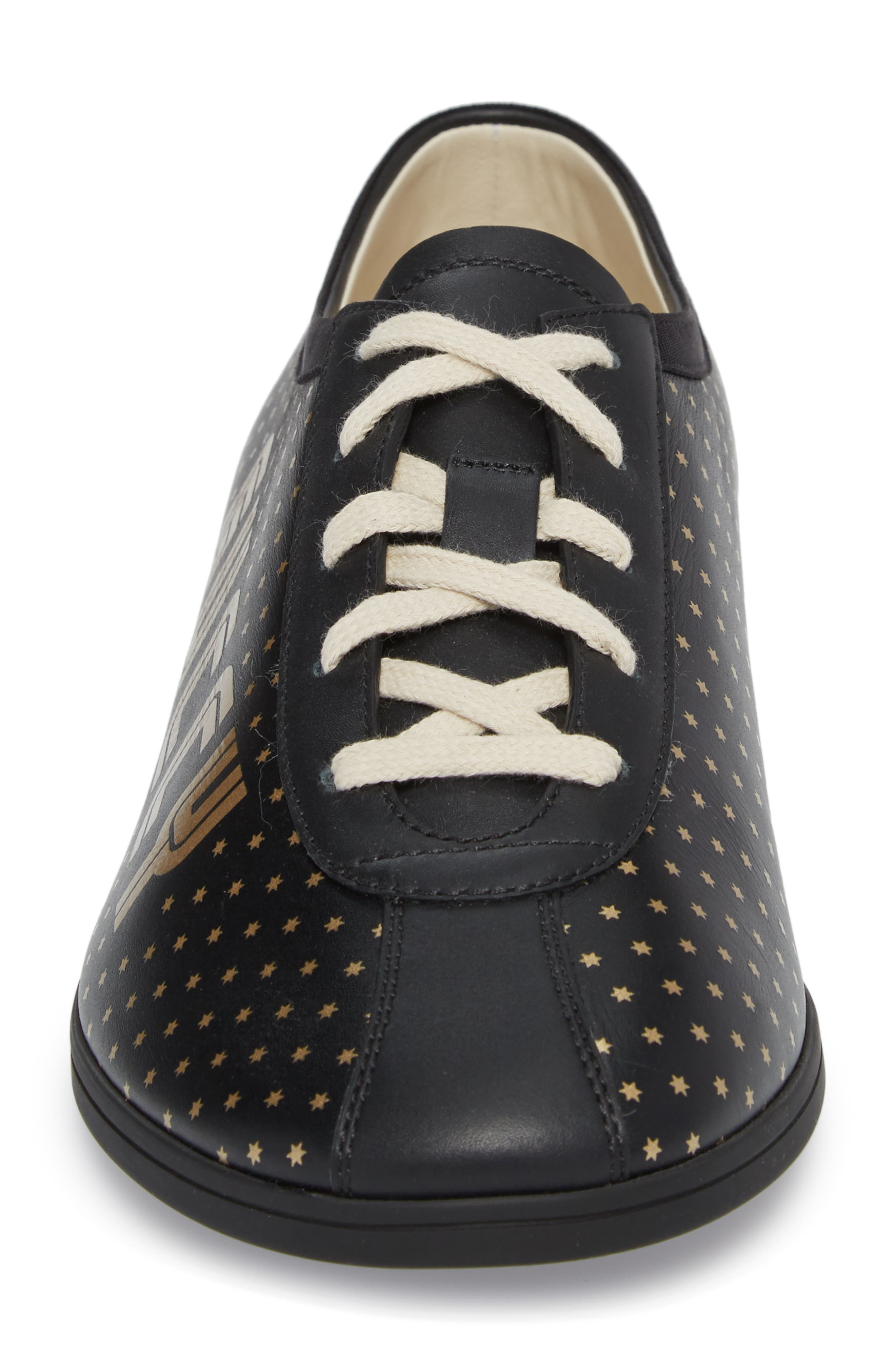 Falacer Guccy Print Sneaker,                             Alternate thumbnail 4, color,                             BLACK/ TAN