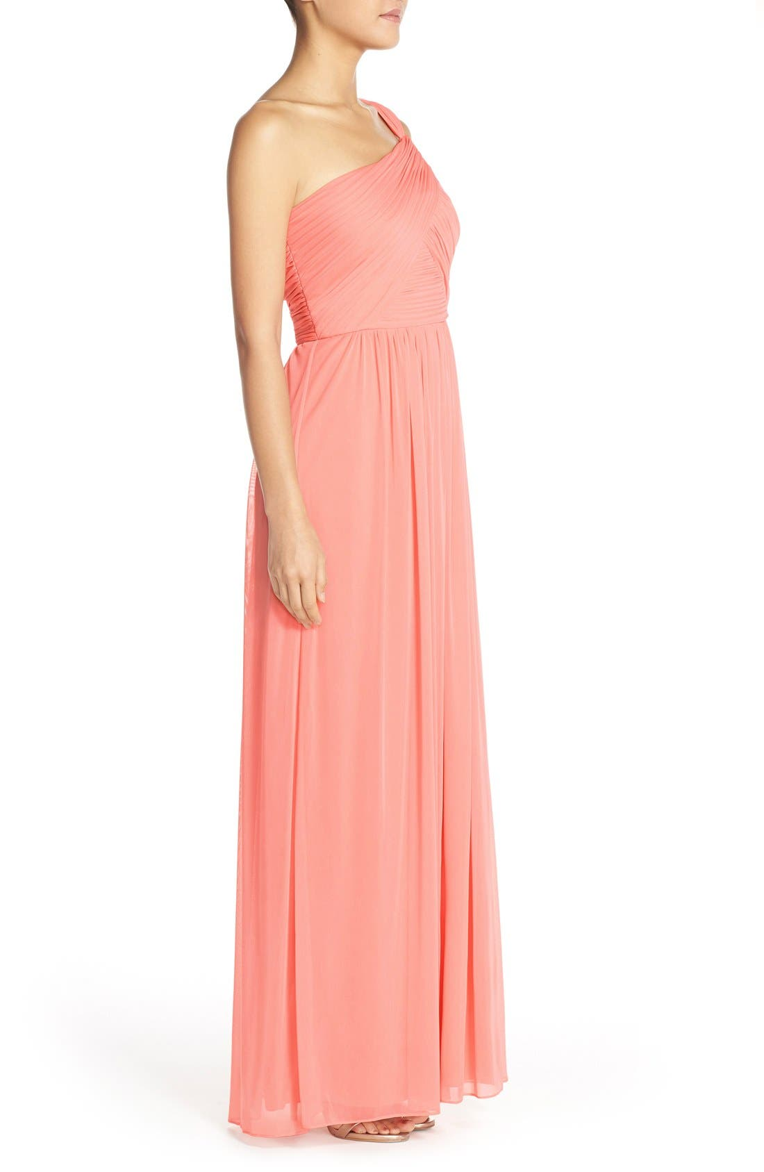 One-Shoulder Shirred Chiffon Gown,                             Alternate thumbnail 3, color,                             633