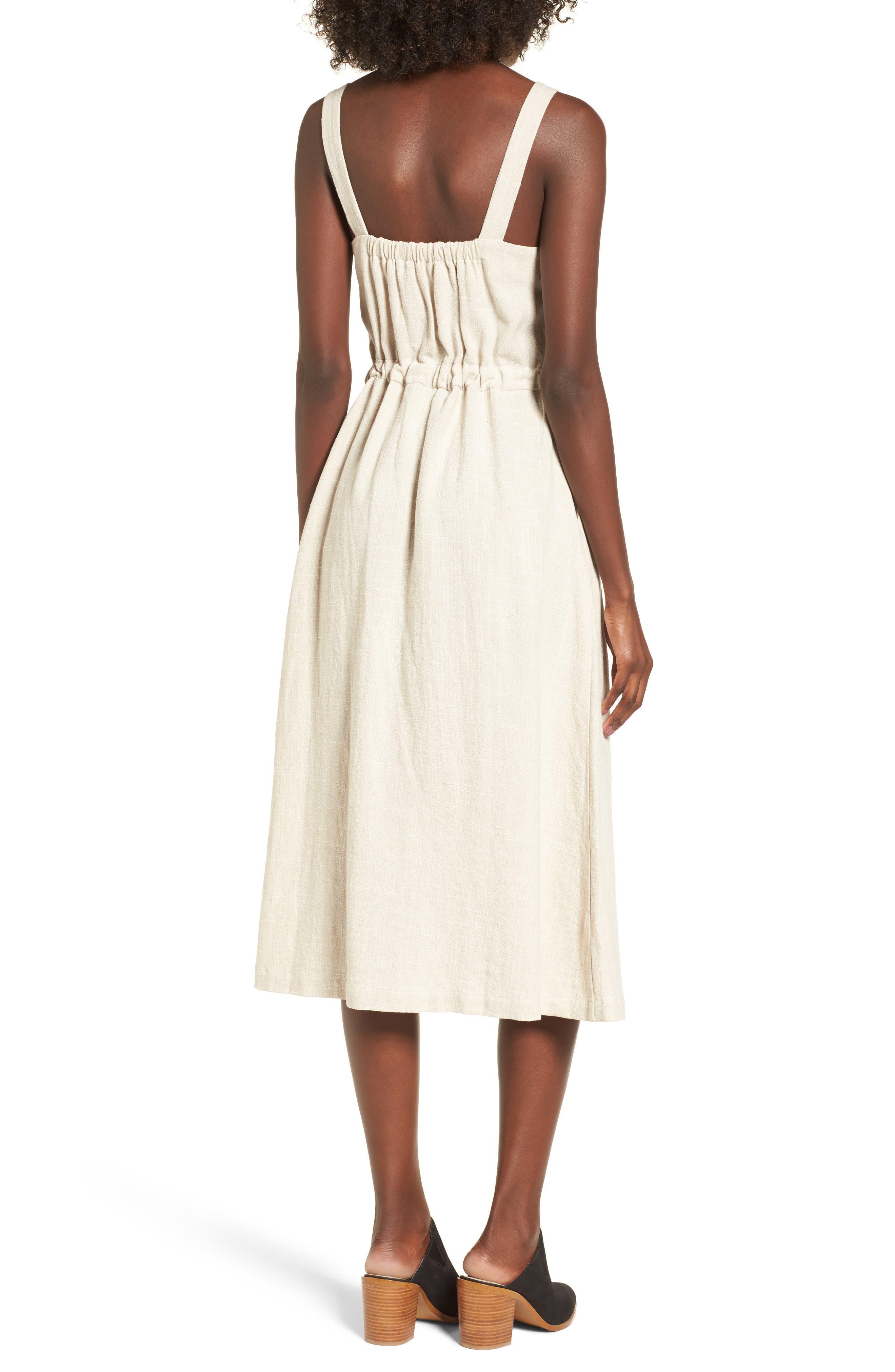 Button Up Drawstring Midi Dress,                             Alternate thumbnail 2, color,                             250