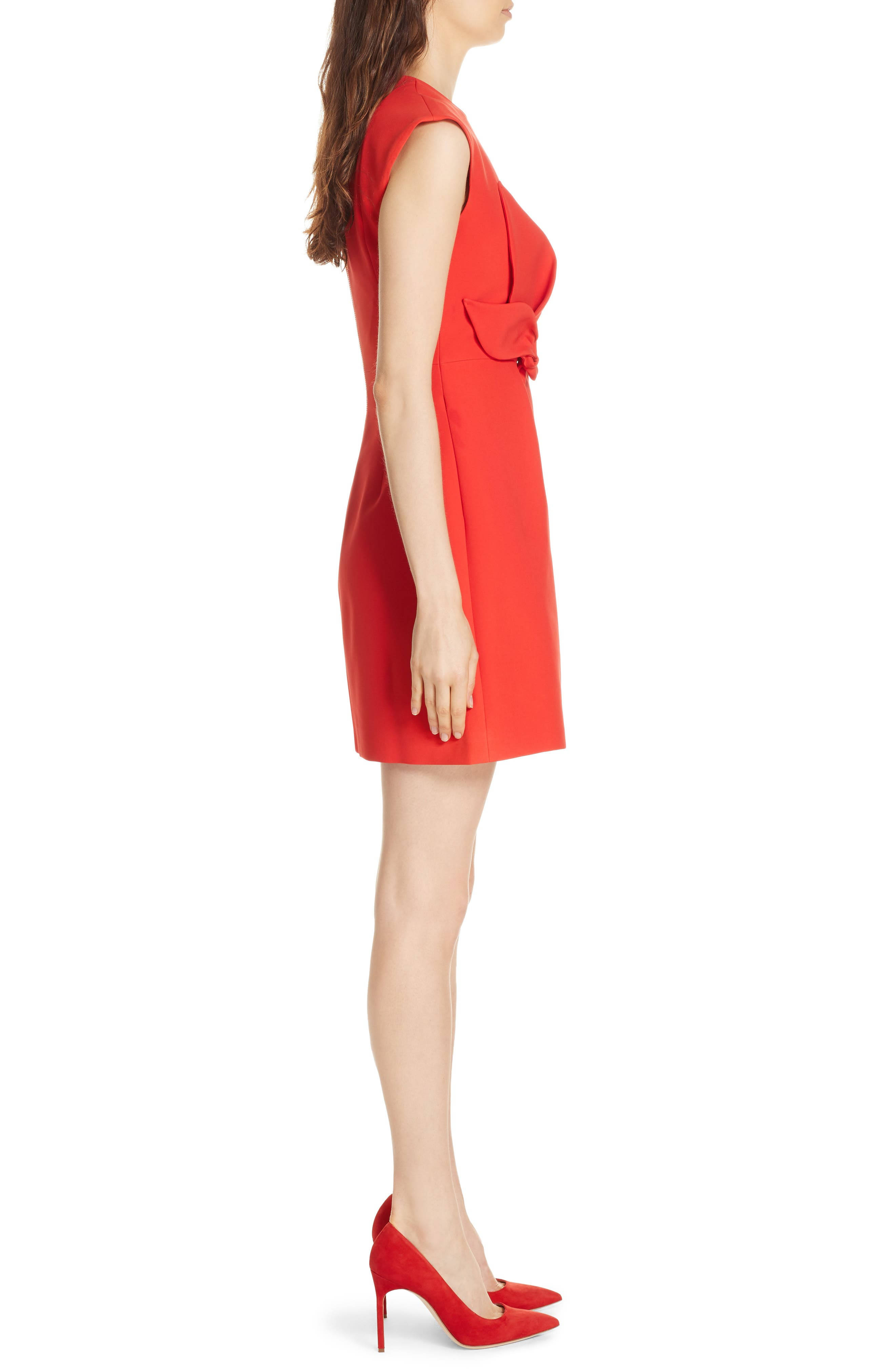 Polly Structured Bow Dress,                             Alternate thumbnail 3, color,                             MID RED