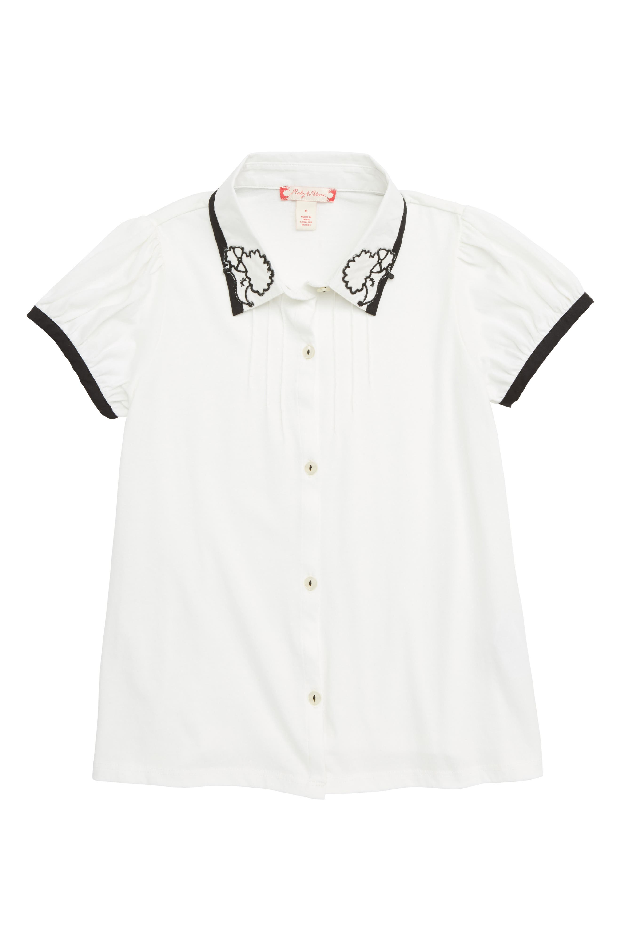 Embroidered Collar Top,                         Main,                         color, IVORY EGRET