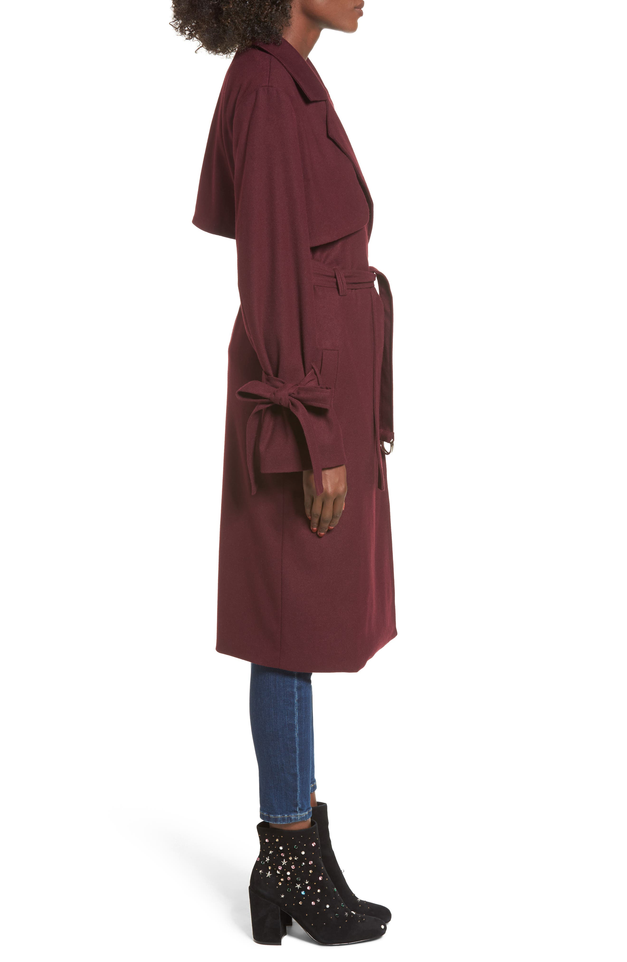 Tie Sleeve Trench Coat,                             Alternate thumbnail 3, color,