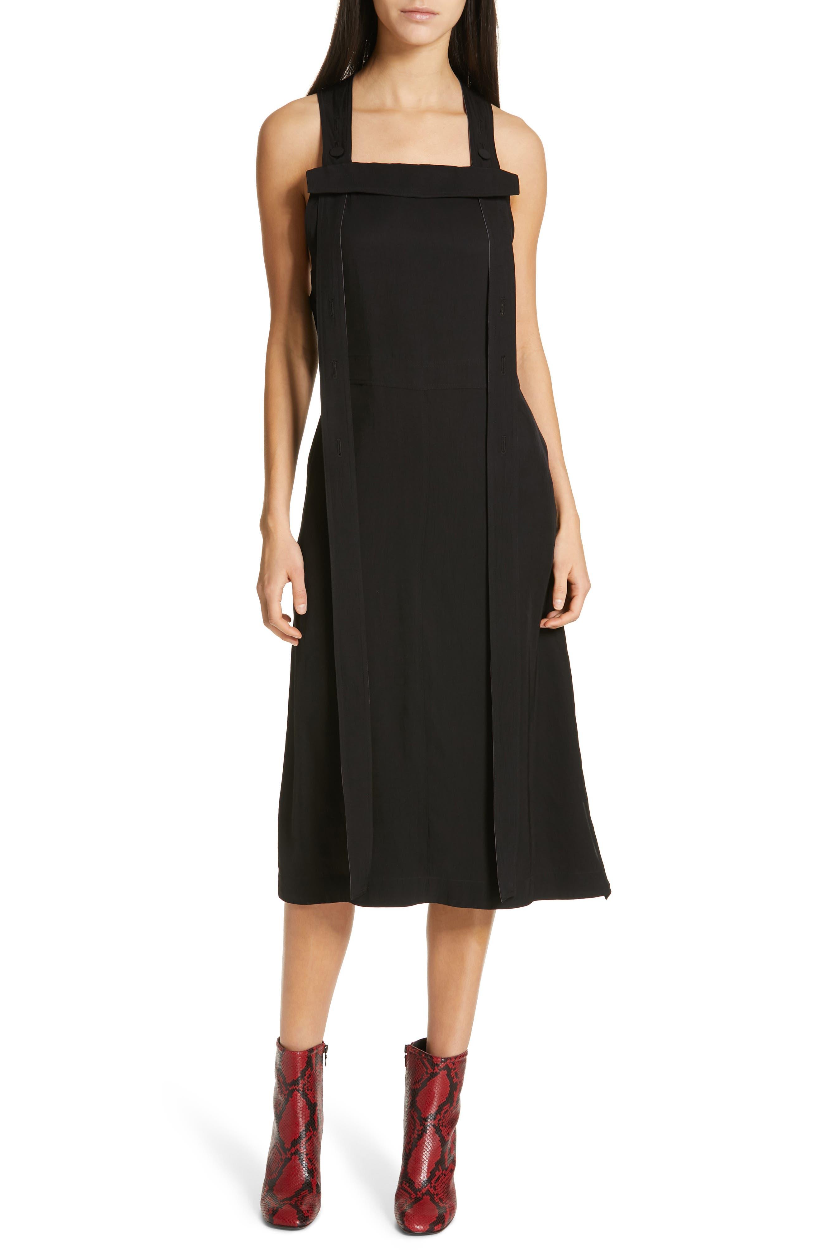 Adrian Pinafore Dress, Main, color, BLACK
