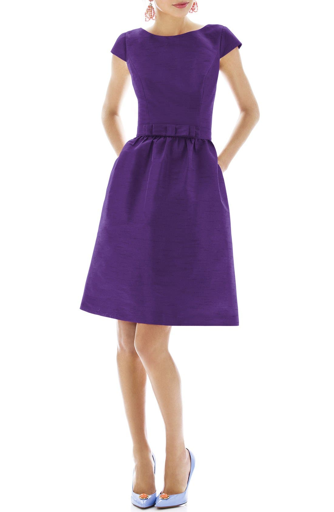 Woven Fit & Flare Dress,                             Main thumbnail 9, color,