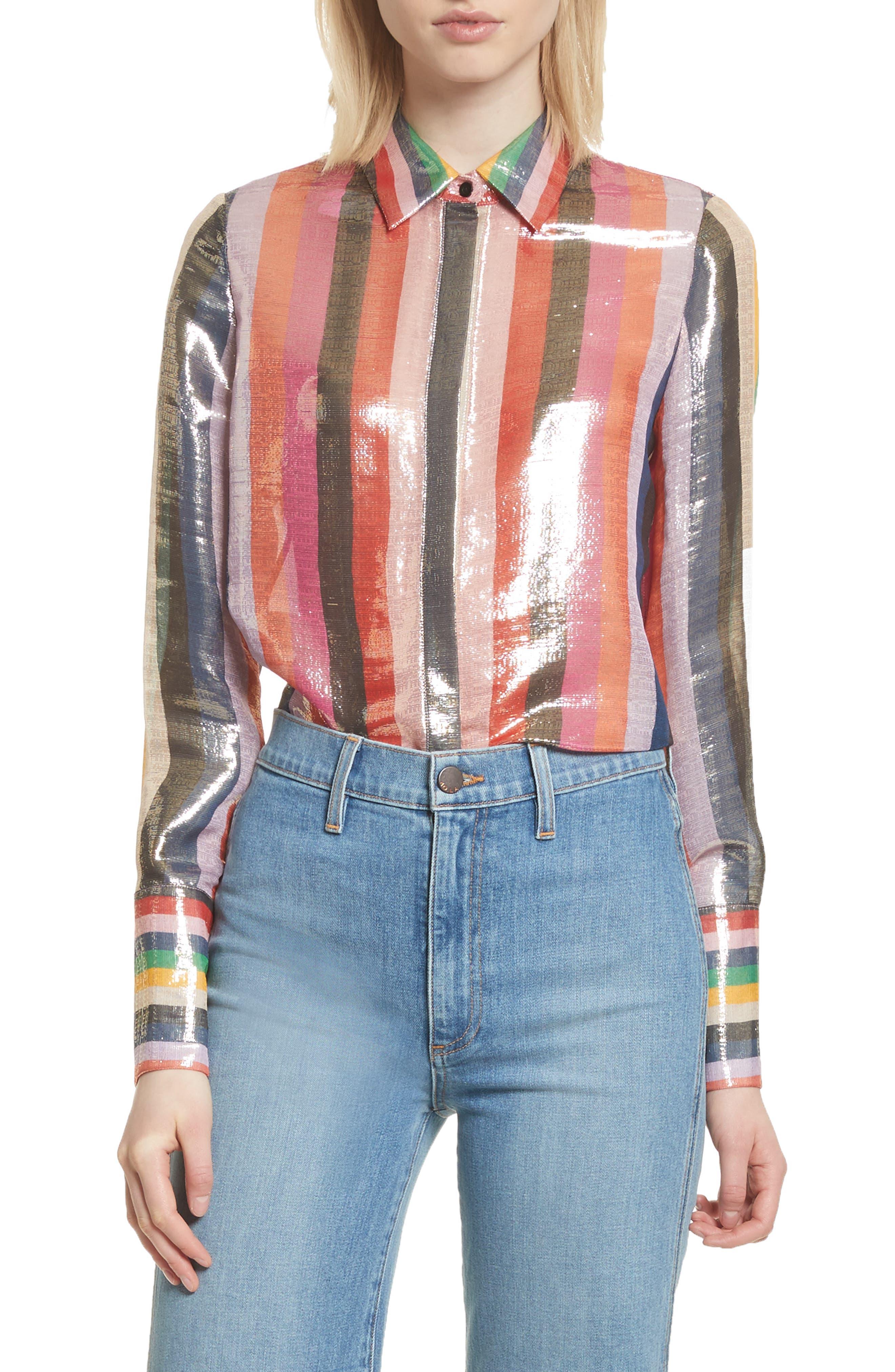 Metallic Stripe Shirt,                             Main thumbnail 1, color,