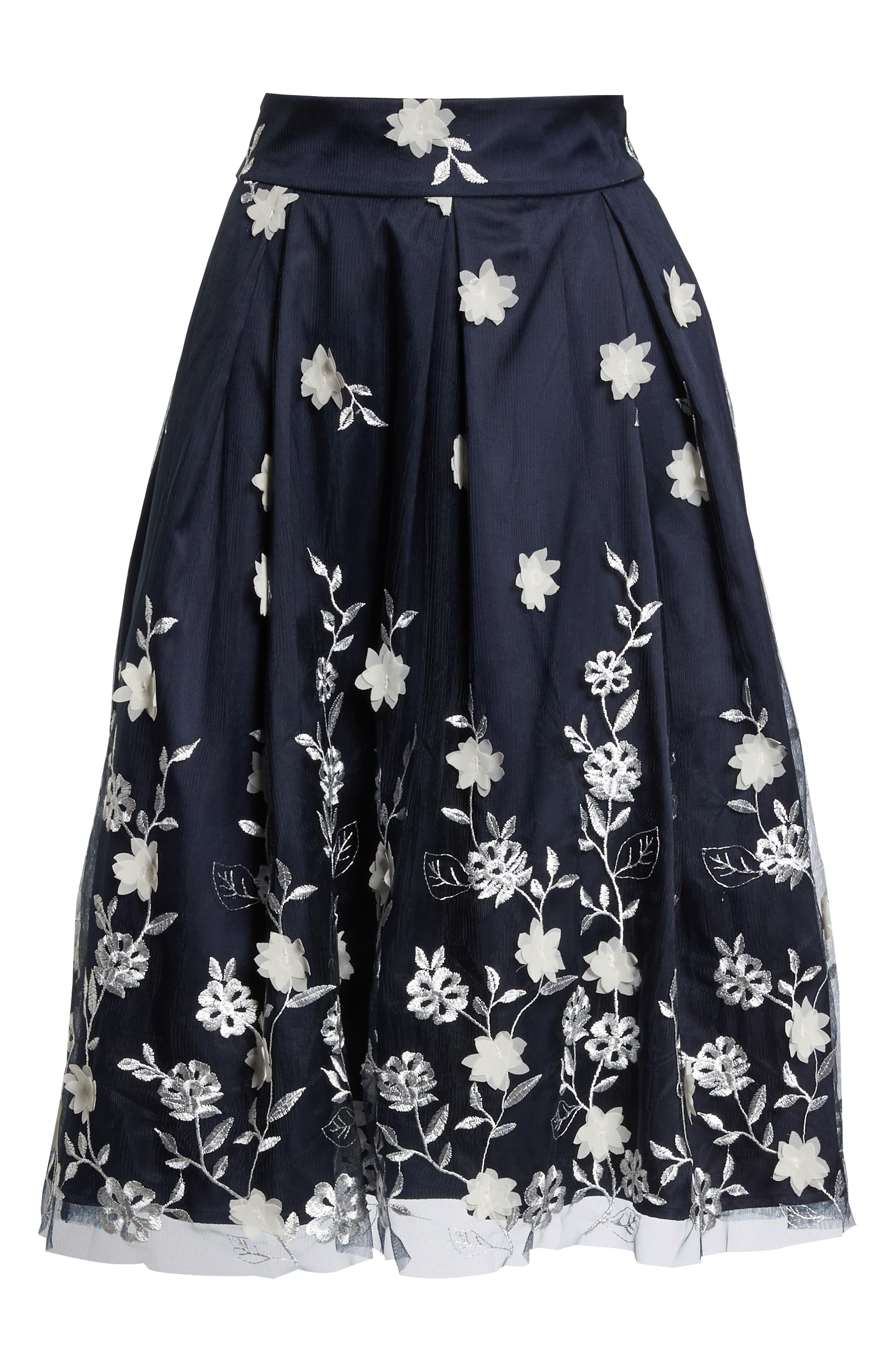 Embroidered A-Line Skirt,                             Alternate thumbnail 6, color,                             NAVY IVORY