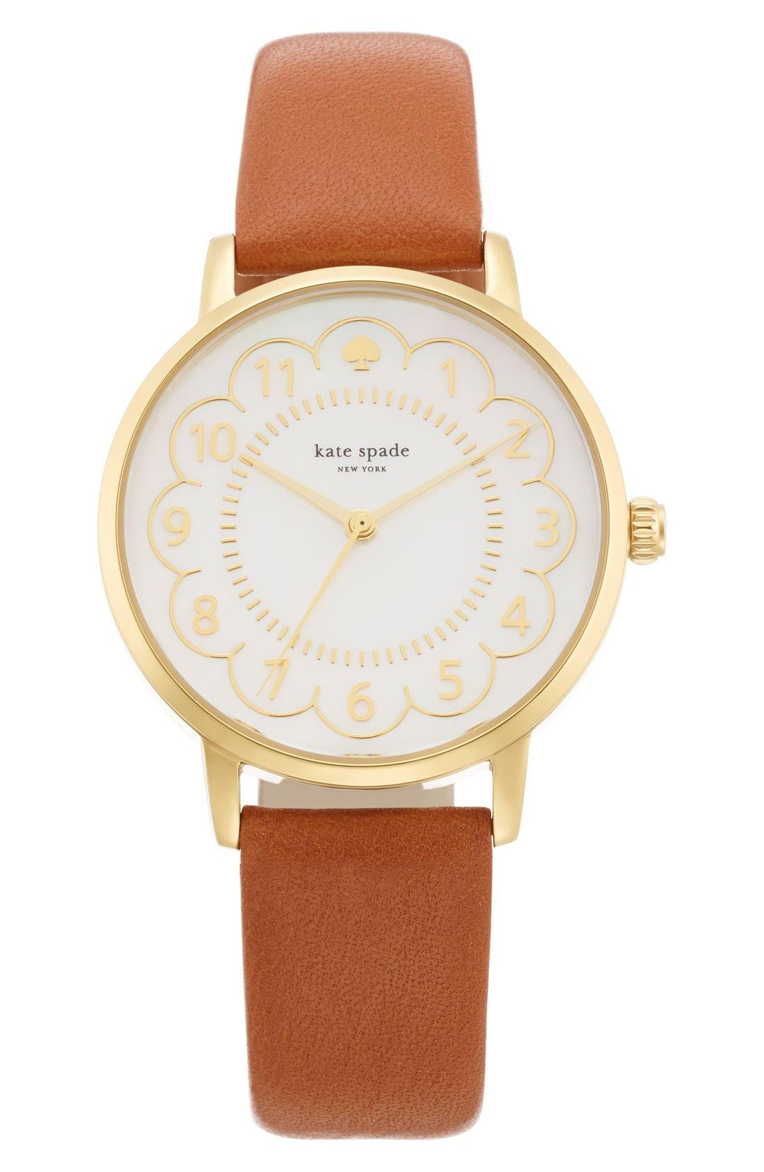 KATE SPADE NEW YORK 'metro' scalloped dial leather strap watch, 34mm, Main, color, 200
