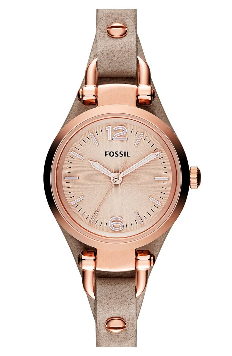 Fossil 'Small Georgia' Leather Strap Watch