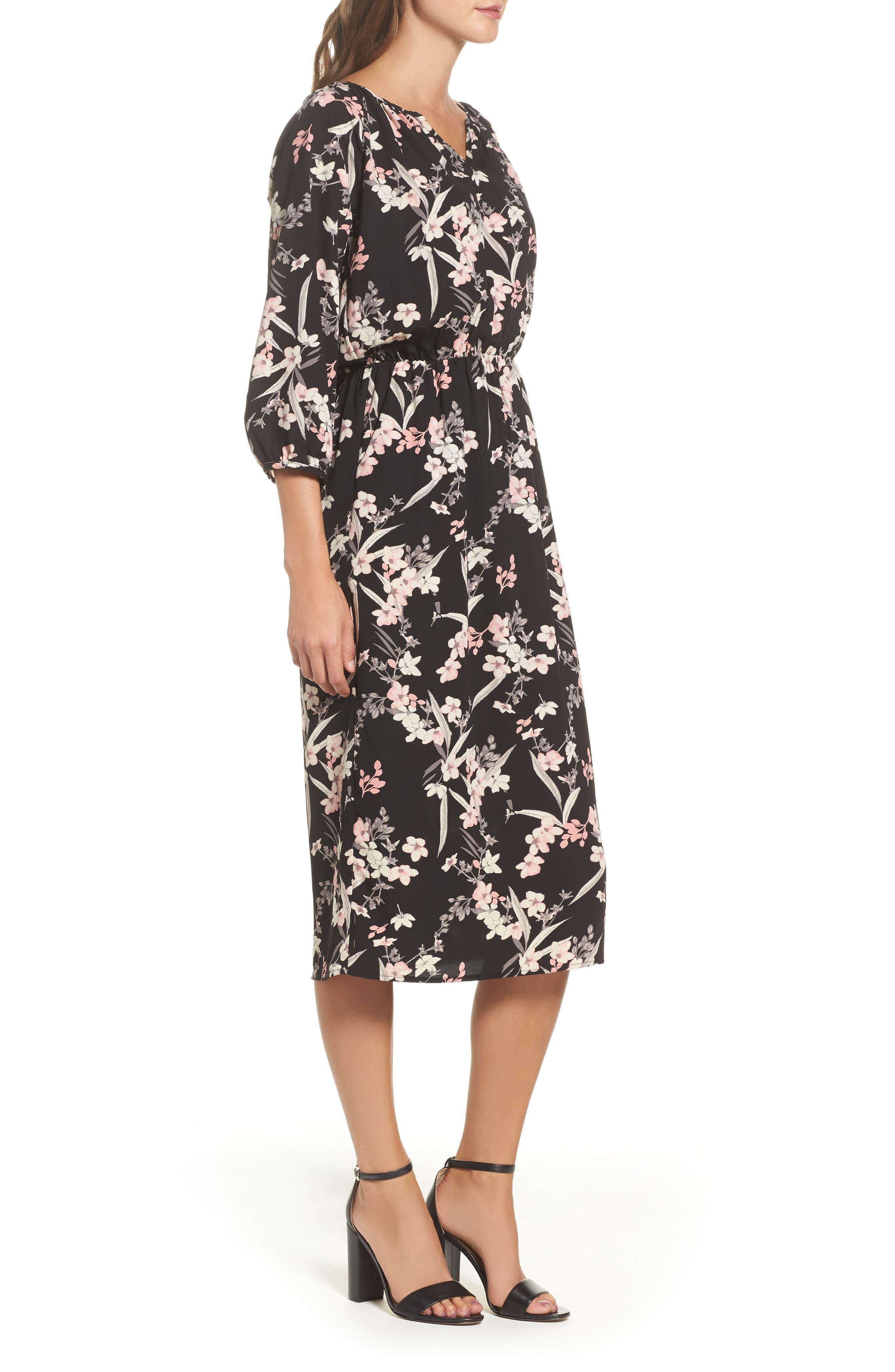Blouson Midi Dress,                             Alternate thumbnail 3, color,                             IRIS