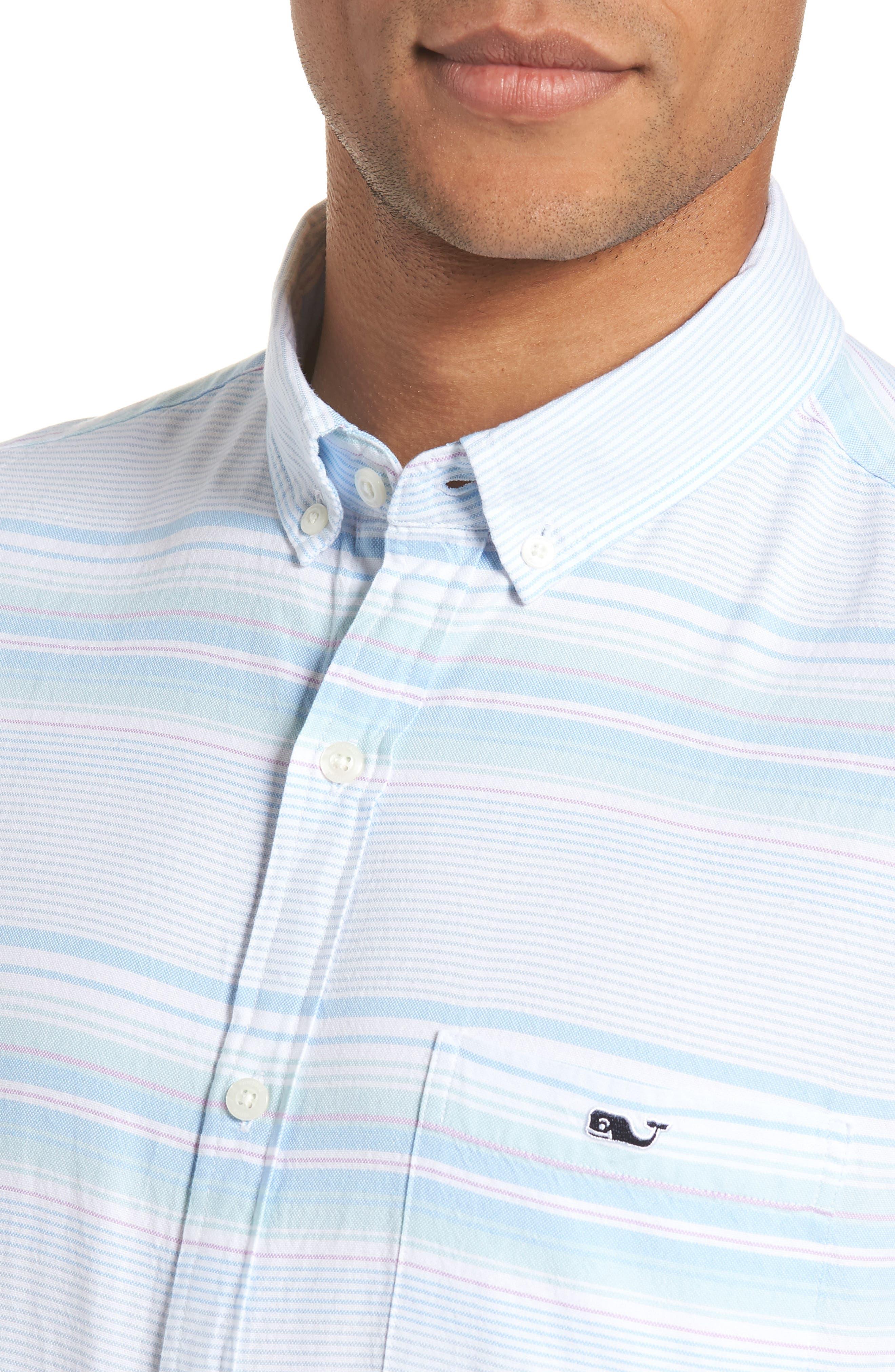 Sand Piper Tucker Regular Fit Stripe Oxford Sport Shirt,                             Alternate thumbnail 2, color,                             POOL SIDE