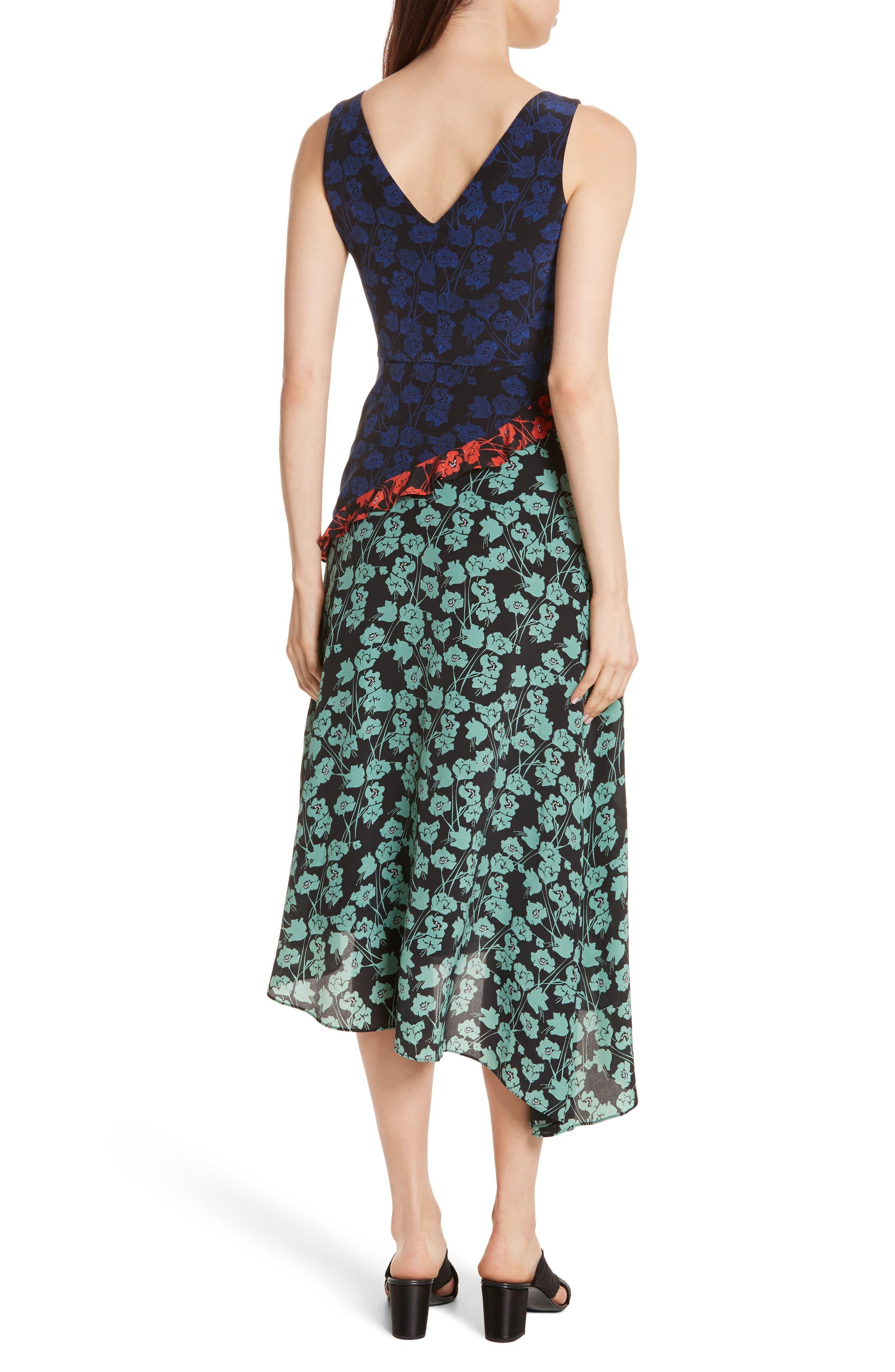 Aggie Floral Print Silk Dress,                             Alternate thumbnail 2, color,                             465