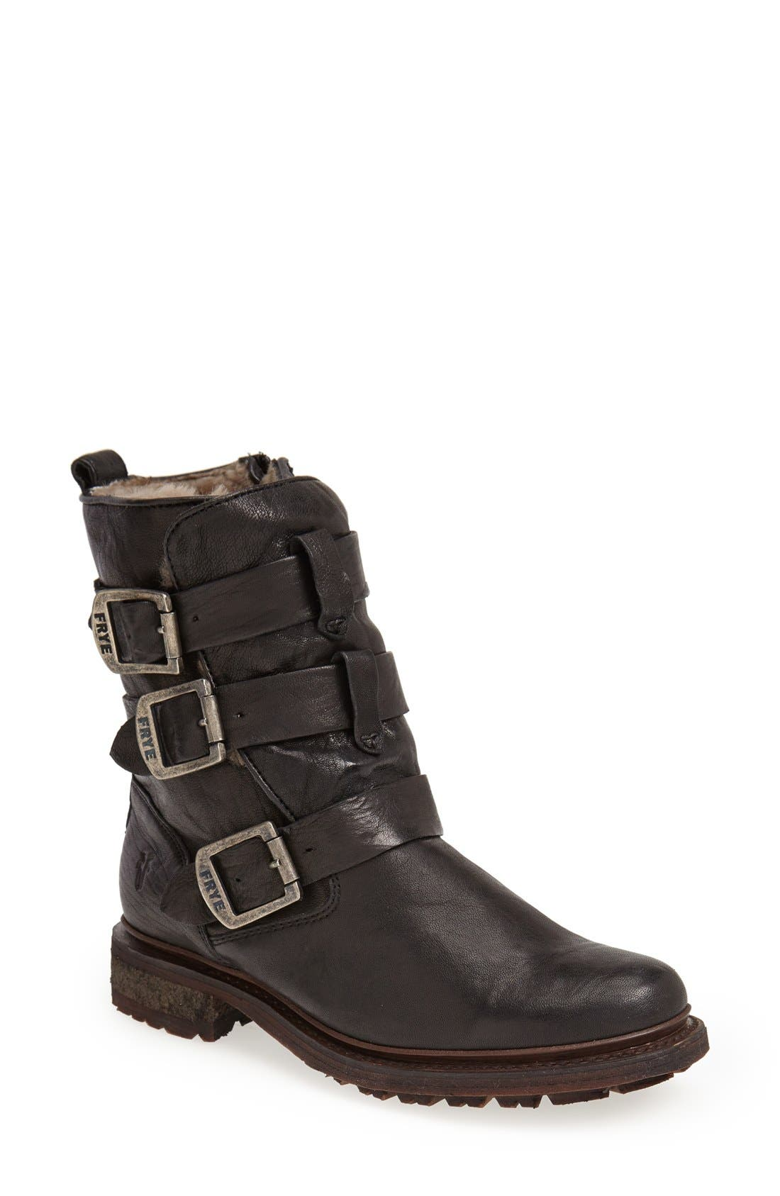 'Valerie' Shearling Lined Strappy Boot,                             Main thumbnail 1, color,                             001