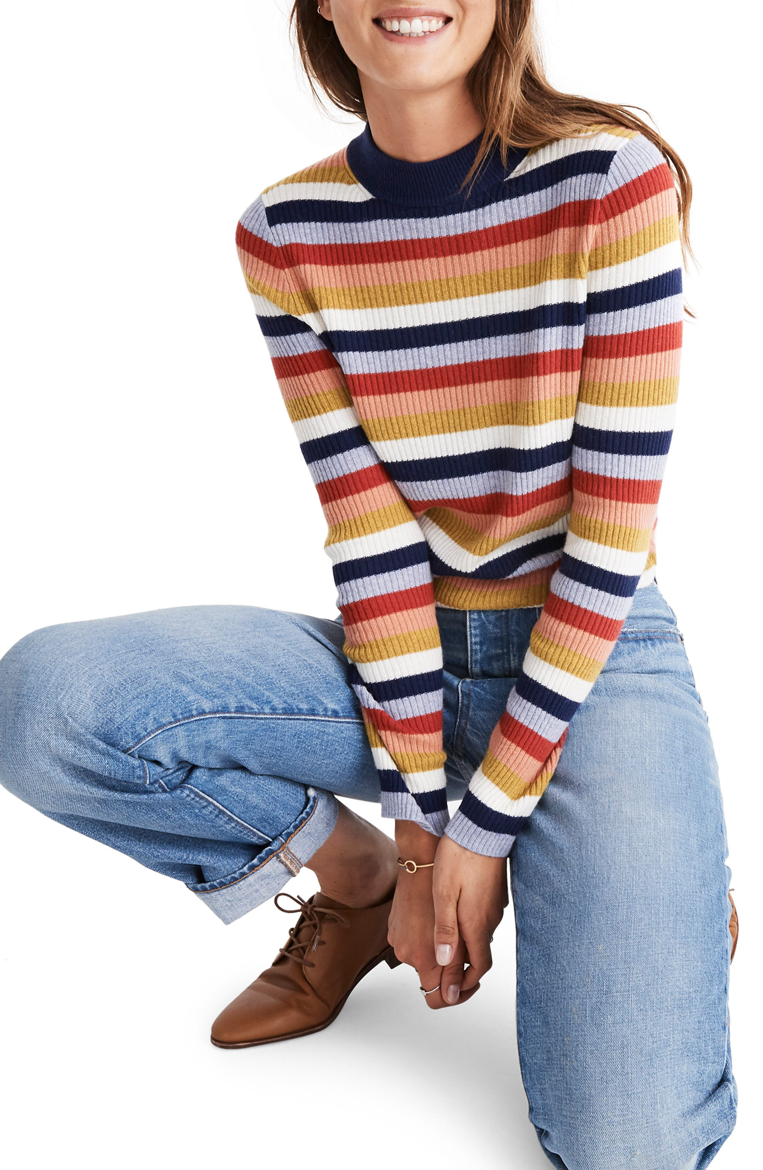 Stripe Mock Neck Pullover Sweater,                             Main thumbnail 1, color,                             BLUE NIGHT