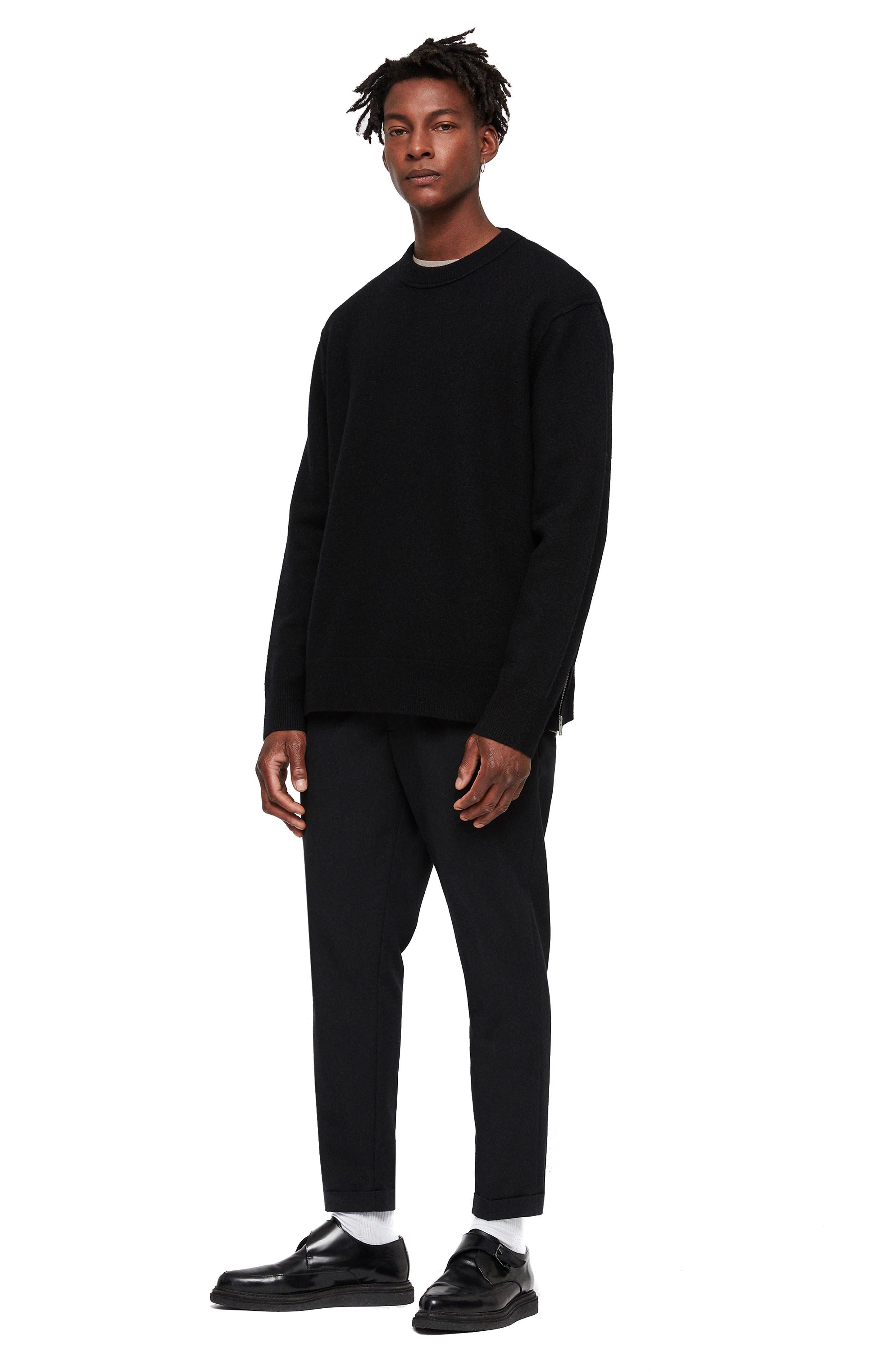 Maine Regular Fit Wool Sweater,                             Alternate thumbnail 4, color,                             BLACK