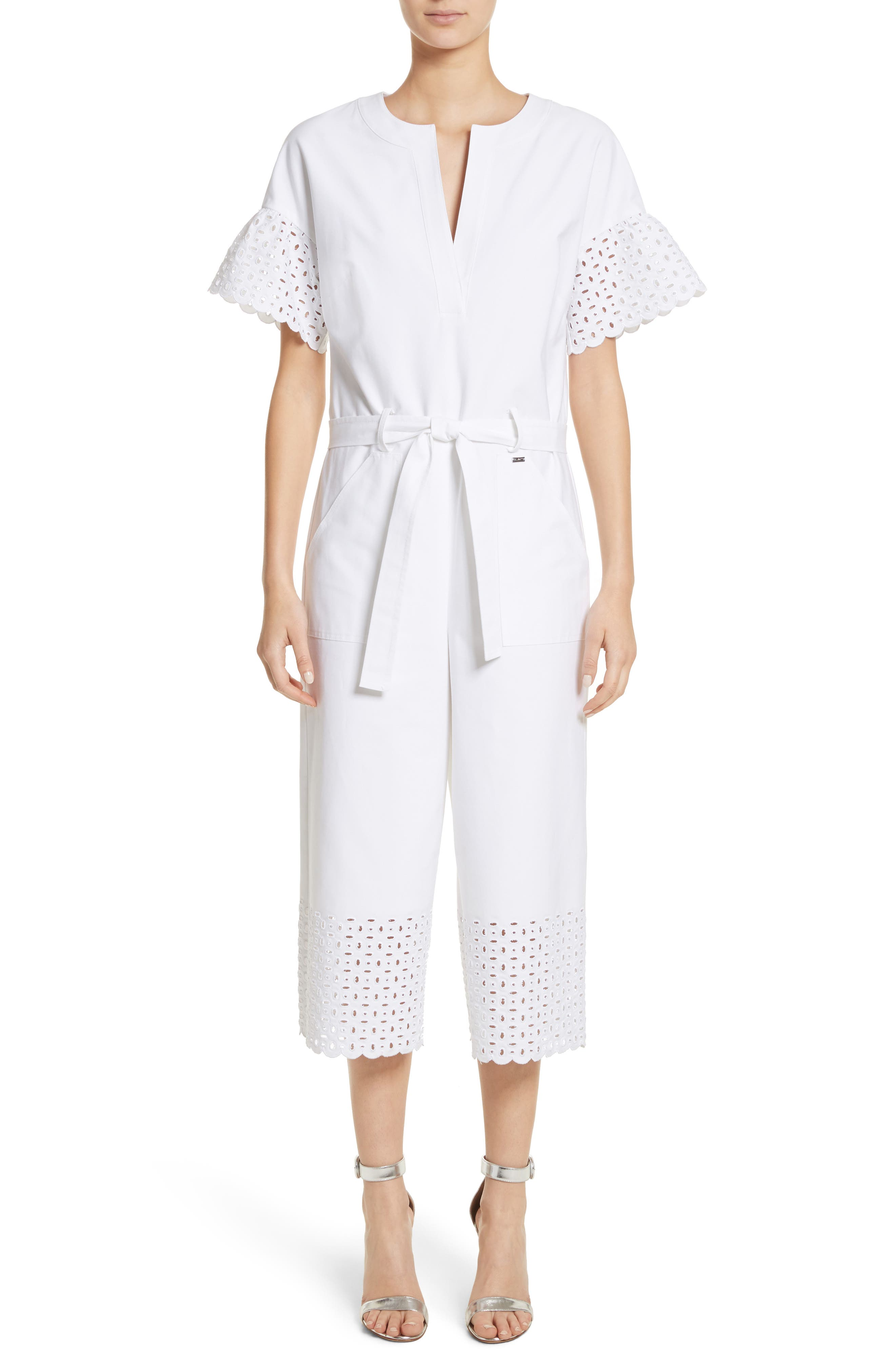 Eyelet Trim Stretch Twill Jumpsuit,                         Main,                         color, 100