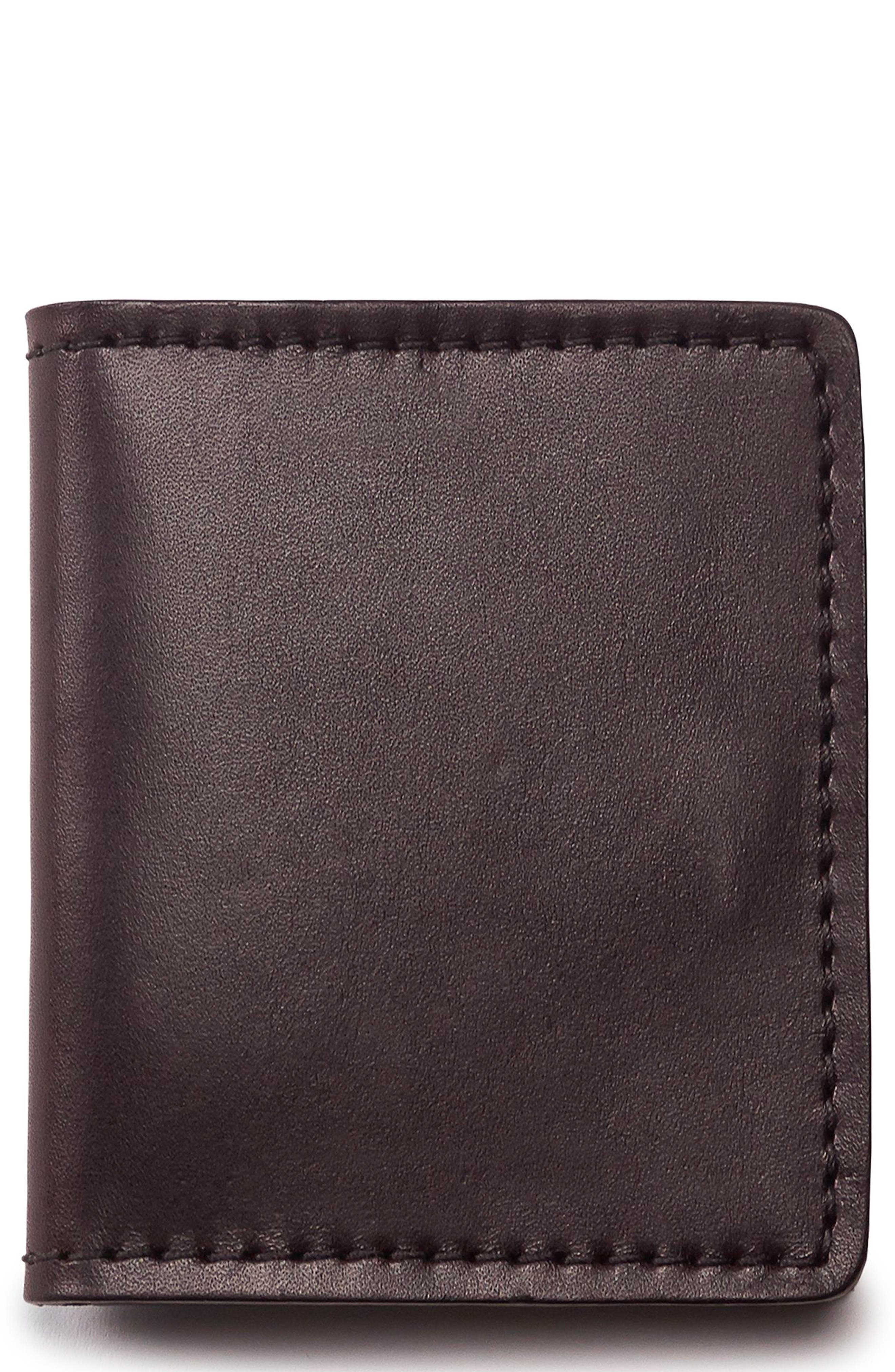 Leather Bifold Cash & Card Case,                             Main thumbnail 1, color,                             BROWN