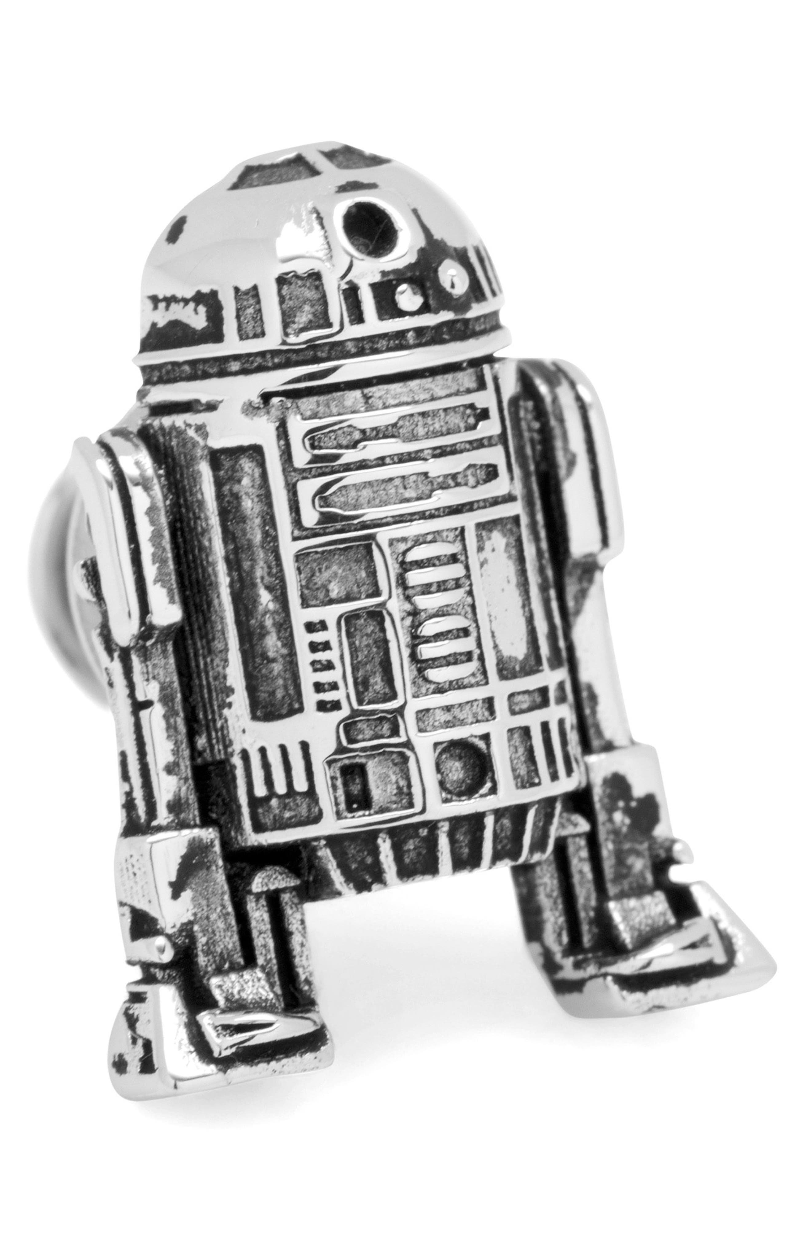 """Star Wars"" 3D R2D2 Lapel Pin,                             Main thumbnail 1, color,                             SILVER"
