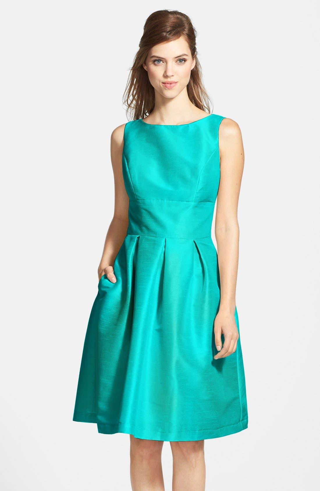 Dupioni Fit & Flare Dress,                             Main thumbnail 9, color,