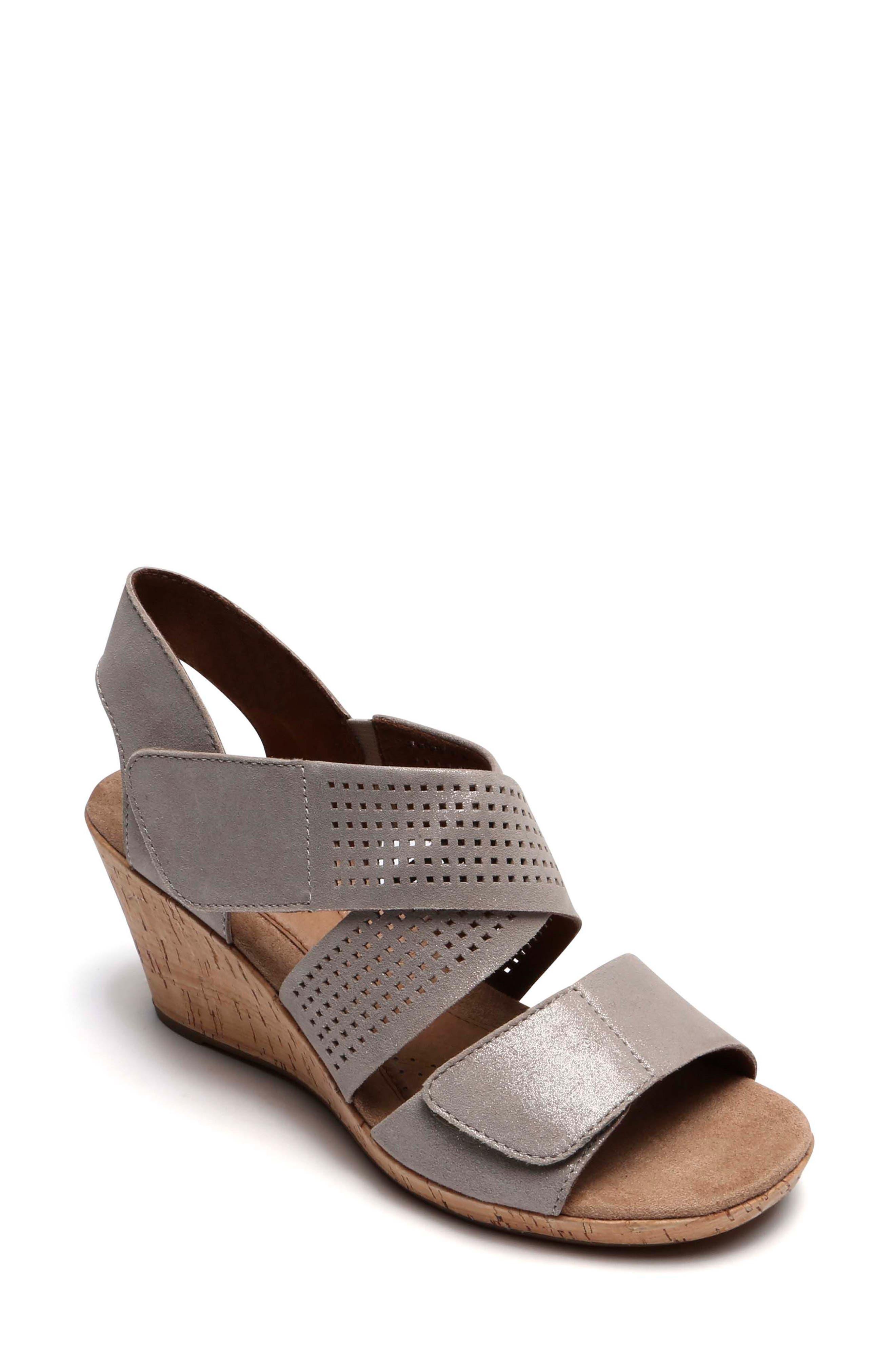 Janna Cross Strap Wedge Sandal,                             Main thumbnail 3, color,