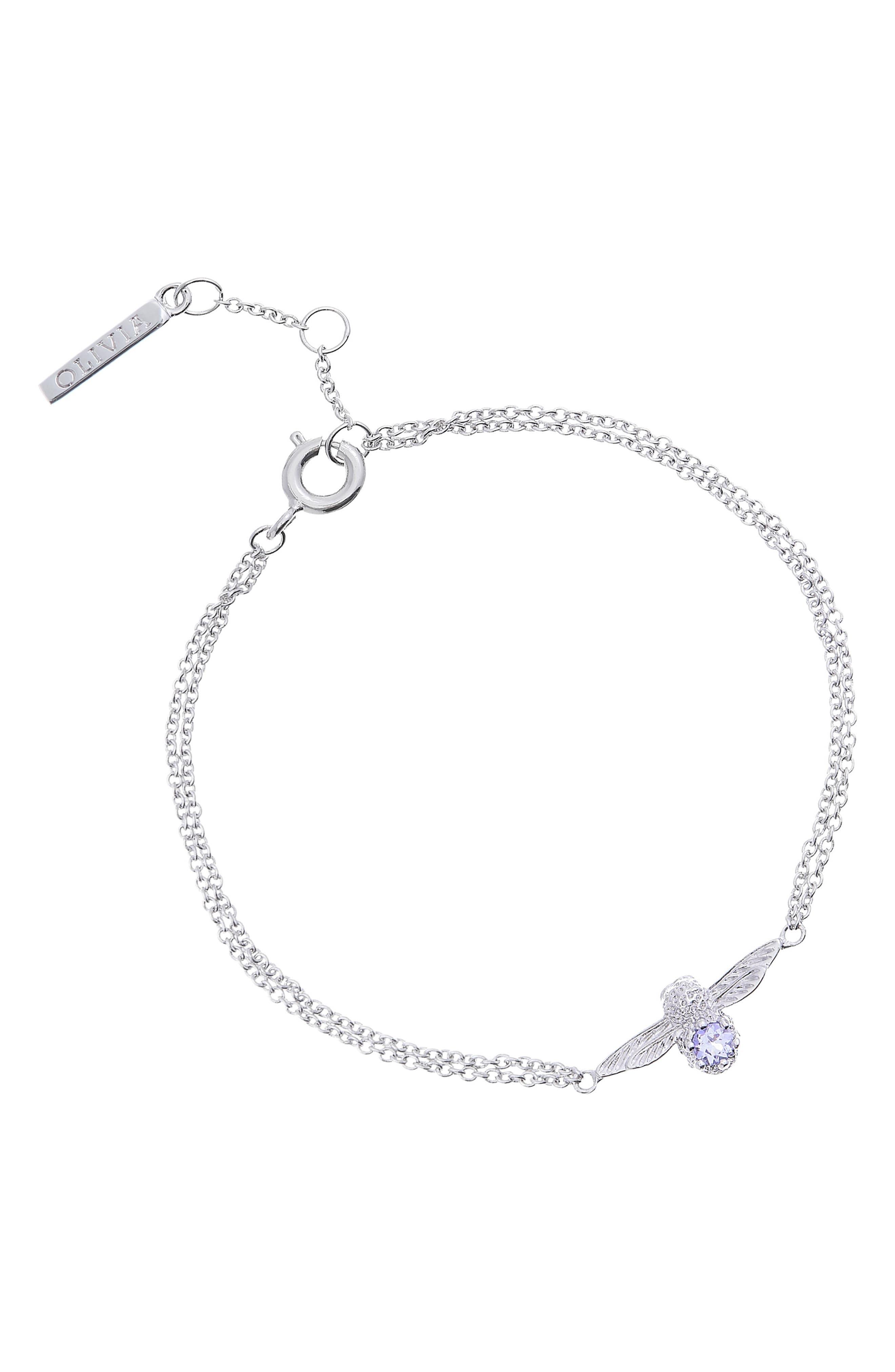 OLIVIA BURTON 3D Bejeweled Bee Bracelet, Main, color, TWO TONE-SILVER / TANZANITE