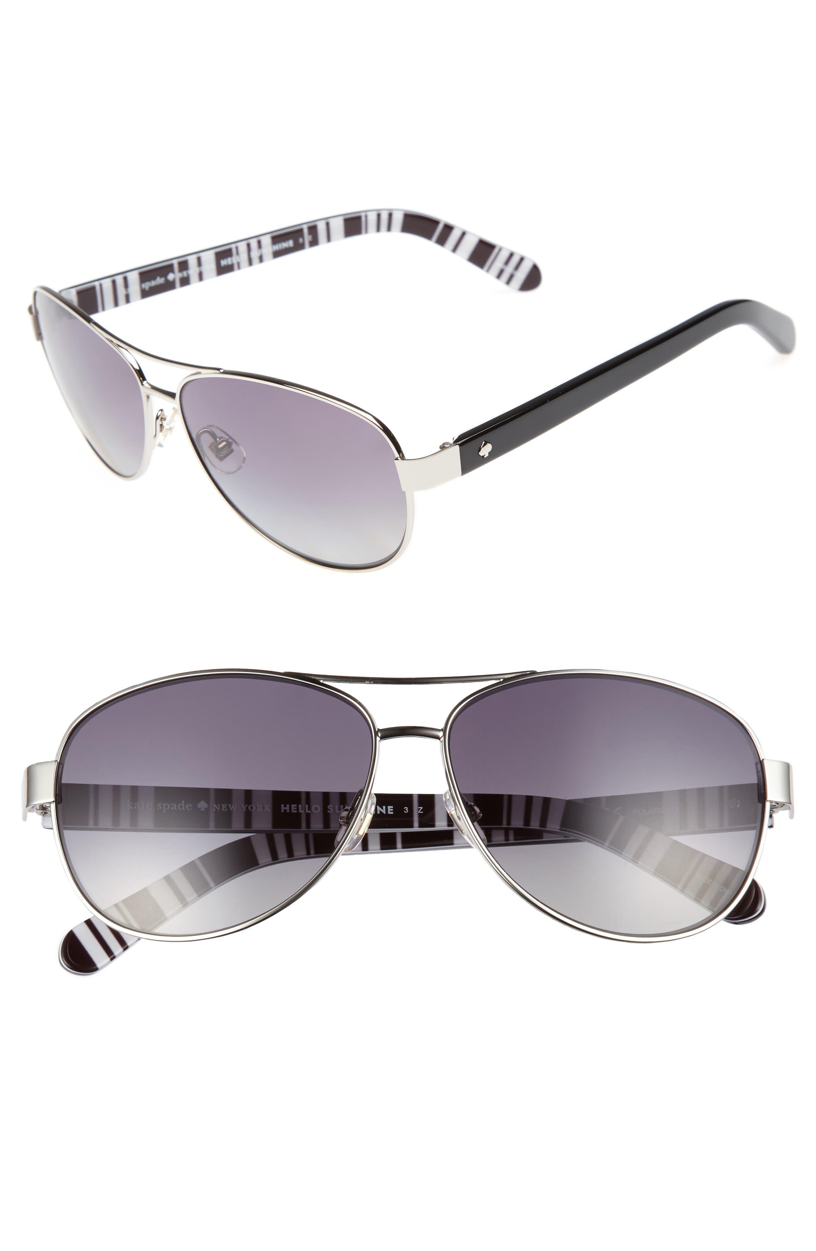 'dalia' 58mm polarized aviator sunglasses,                         Main,                         color, SILVER/ BLACK