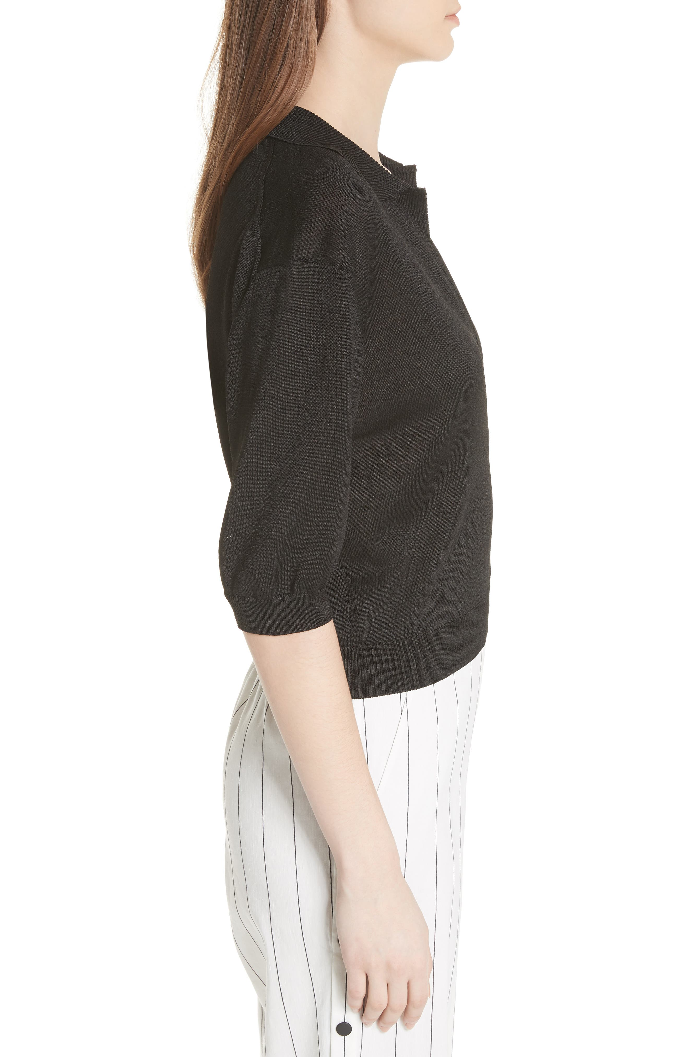 Crop Knit Pullover,                             Alternate thumbnail 3, color,                             001