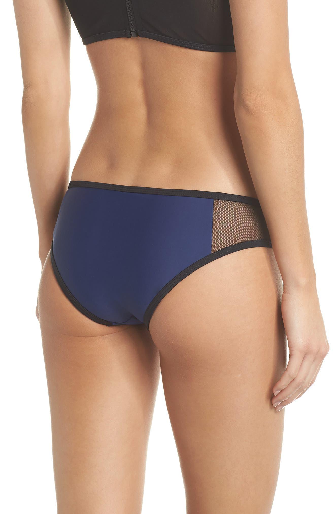 Racer Hipster Bikini Bottoms,                             Alternate thumbnail 2, color,                             BLUE/ BLACK