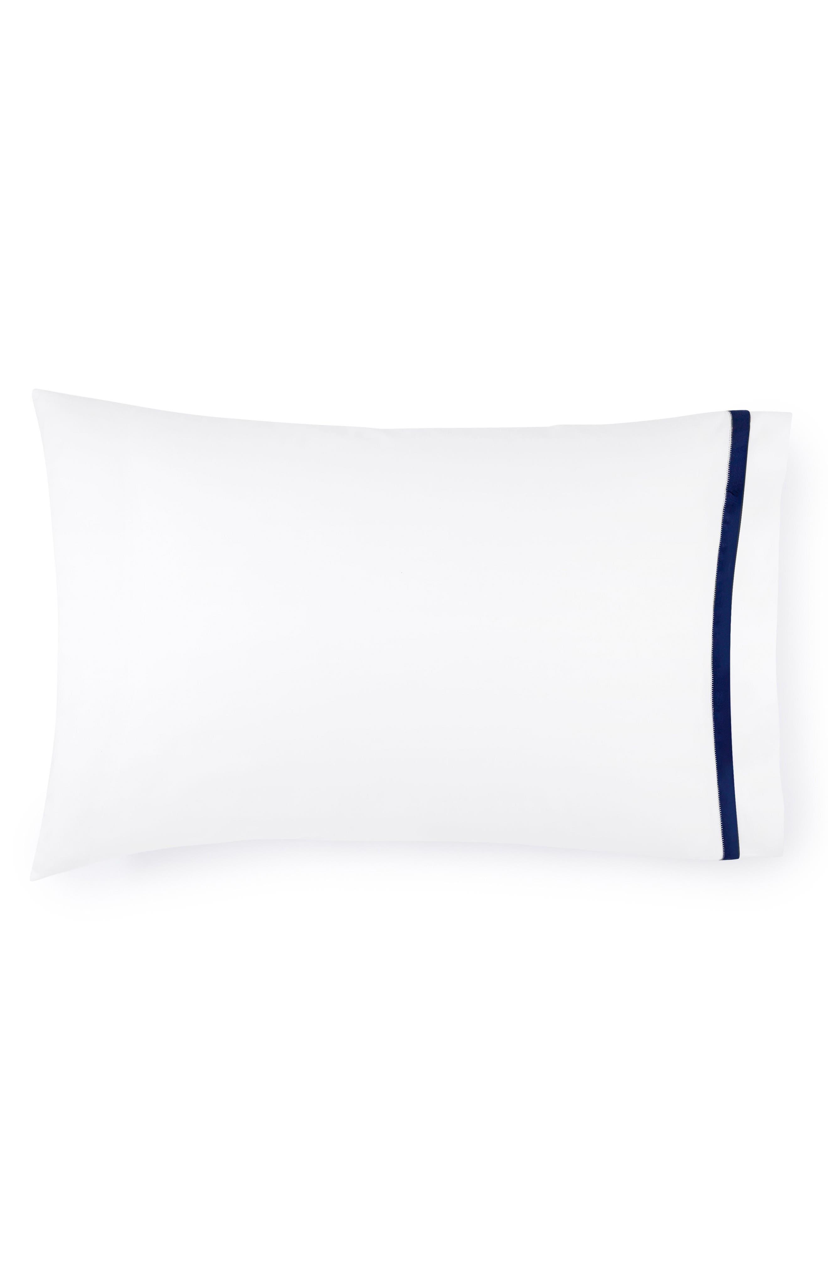 Amando Pillowcase,                             Main thumbnail 1, color,                             WHITE/ NAVY