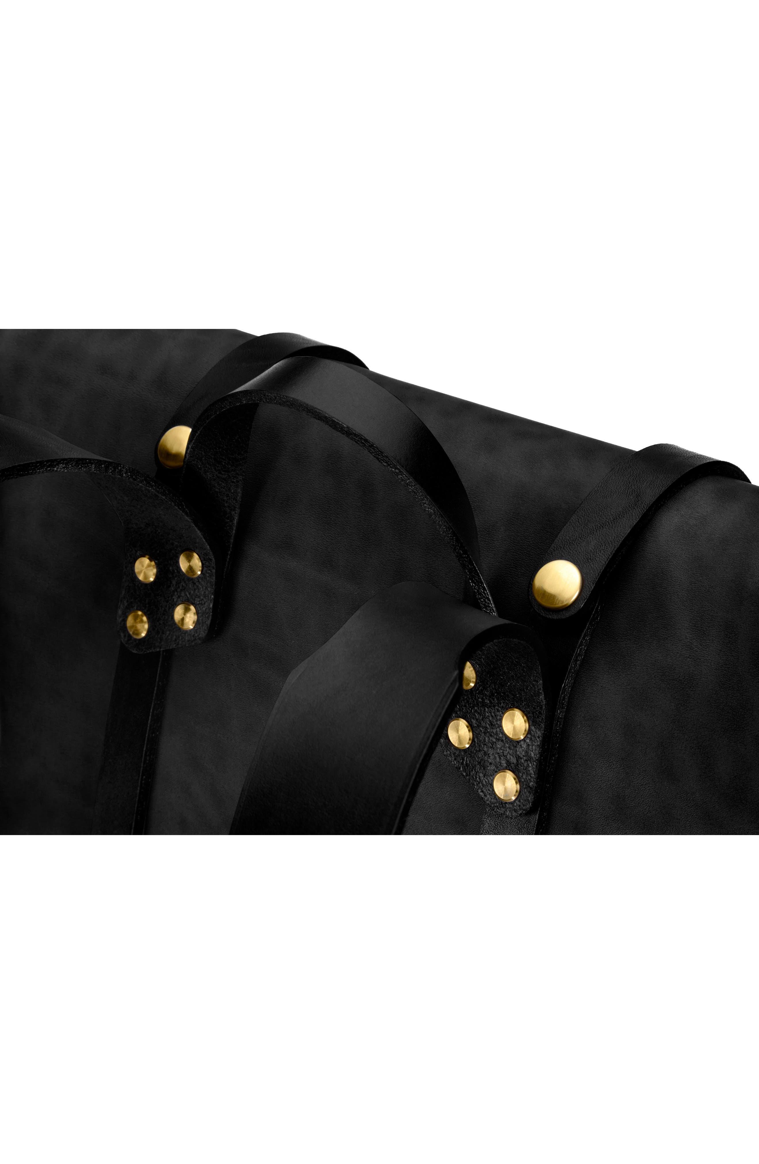 Keystone Brass Detail Leather Rucksack,                             Alternate thumbnail 6, color,                             001