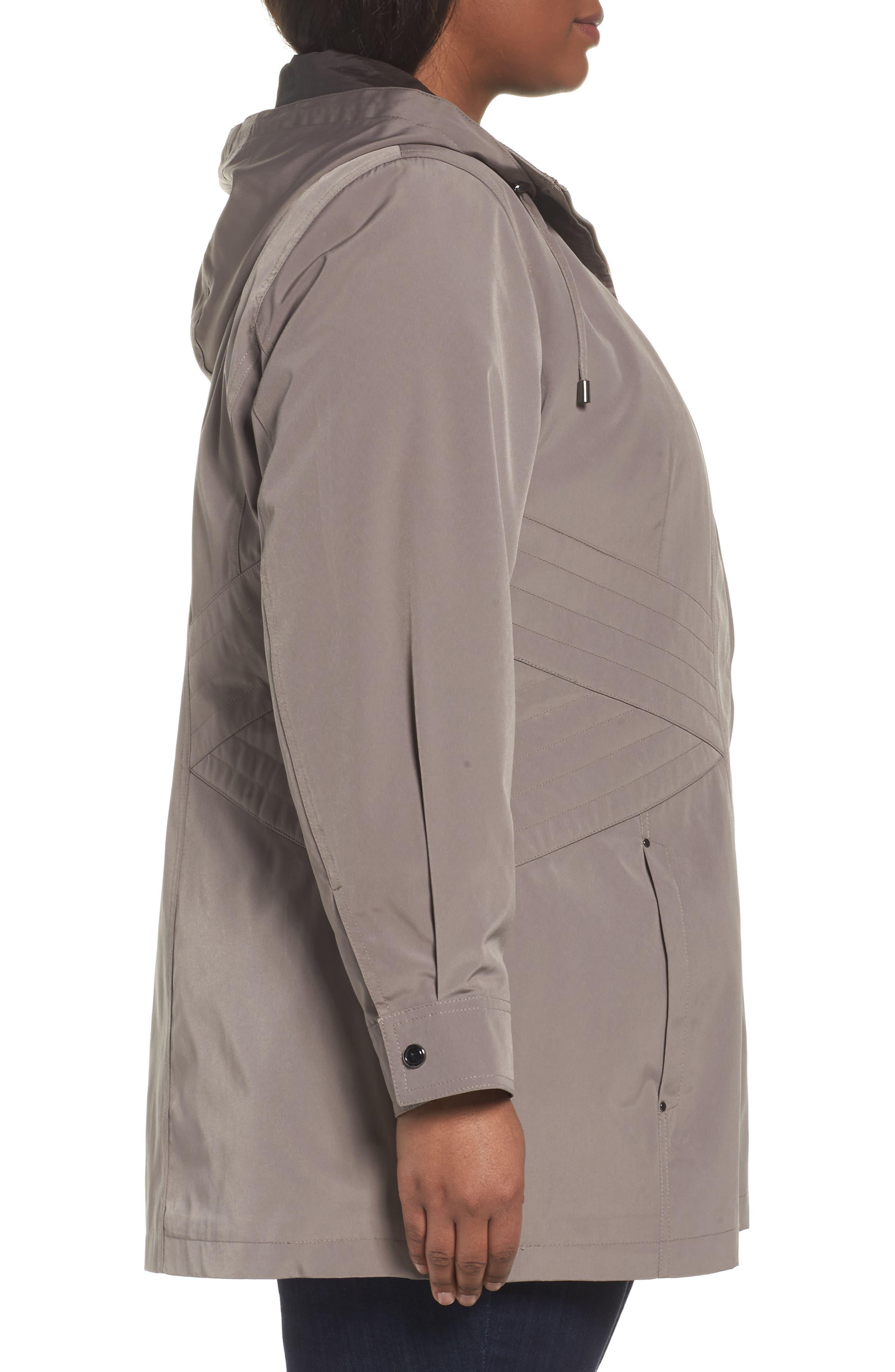 Two-Tone Long Silk Look Raincoat,                             Alternate thumbnail 6, color,