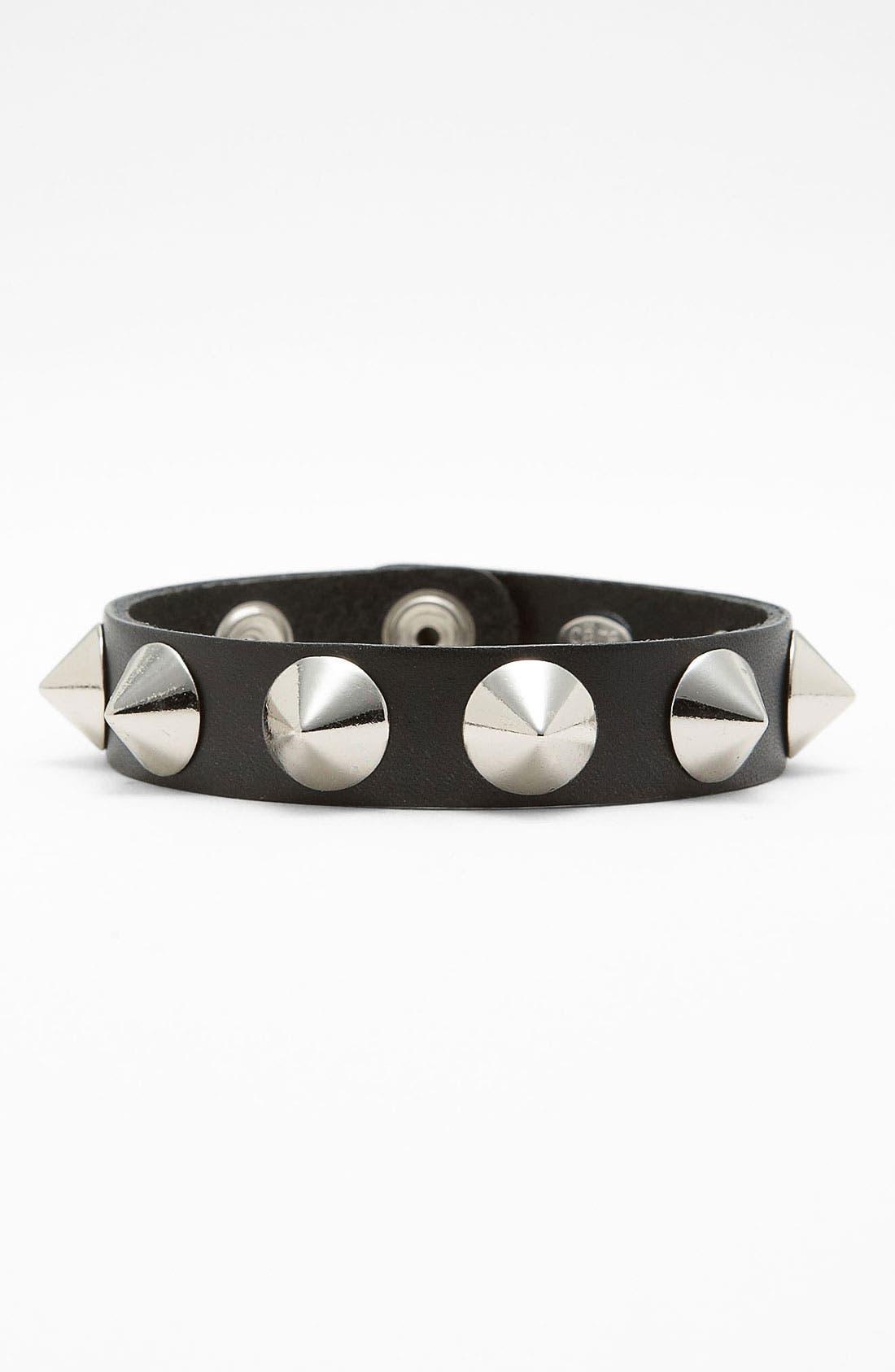 Studded Leather Bracelet,                         Main,                         color,