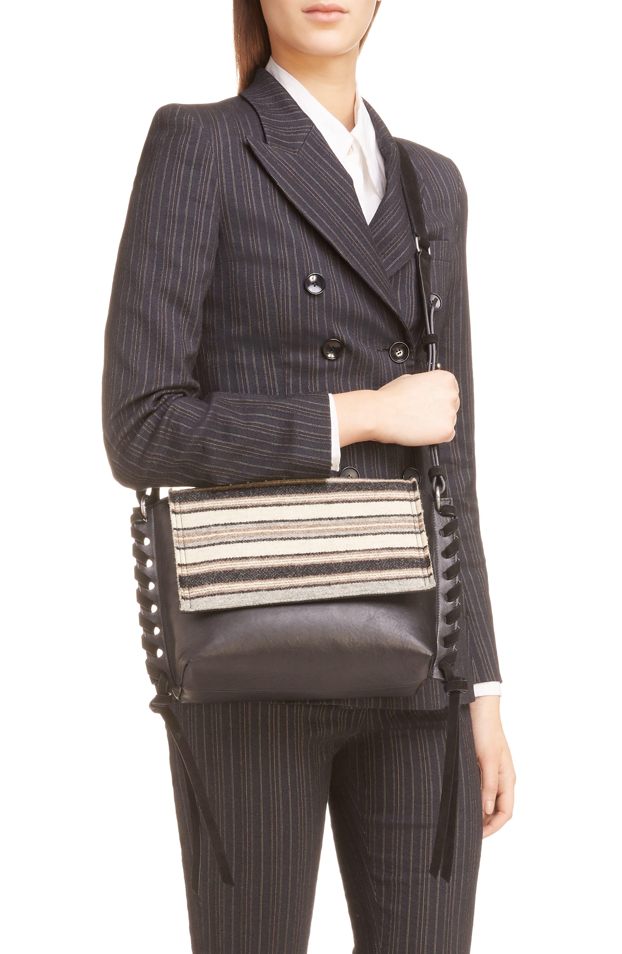 Asli Wool & Leather Shoulder Bag,                             Alternate thumbnail 2, color,                             020