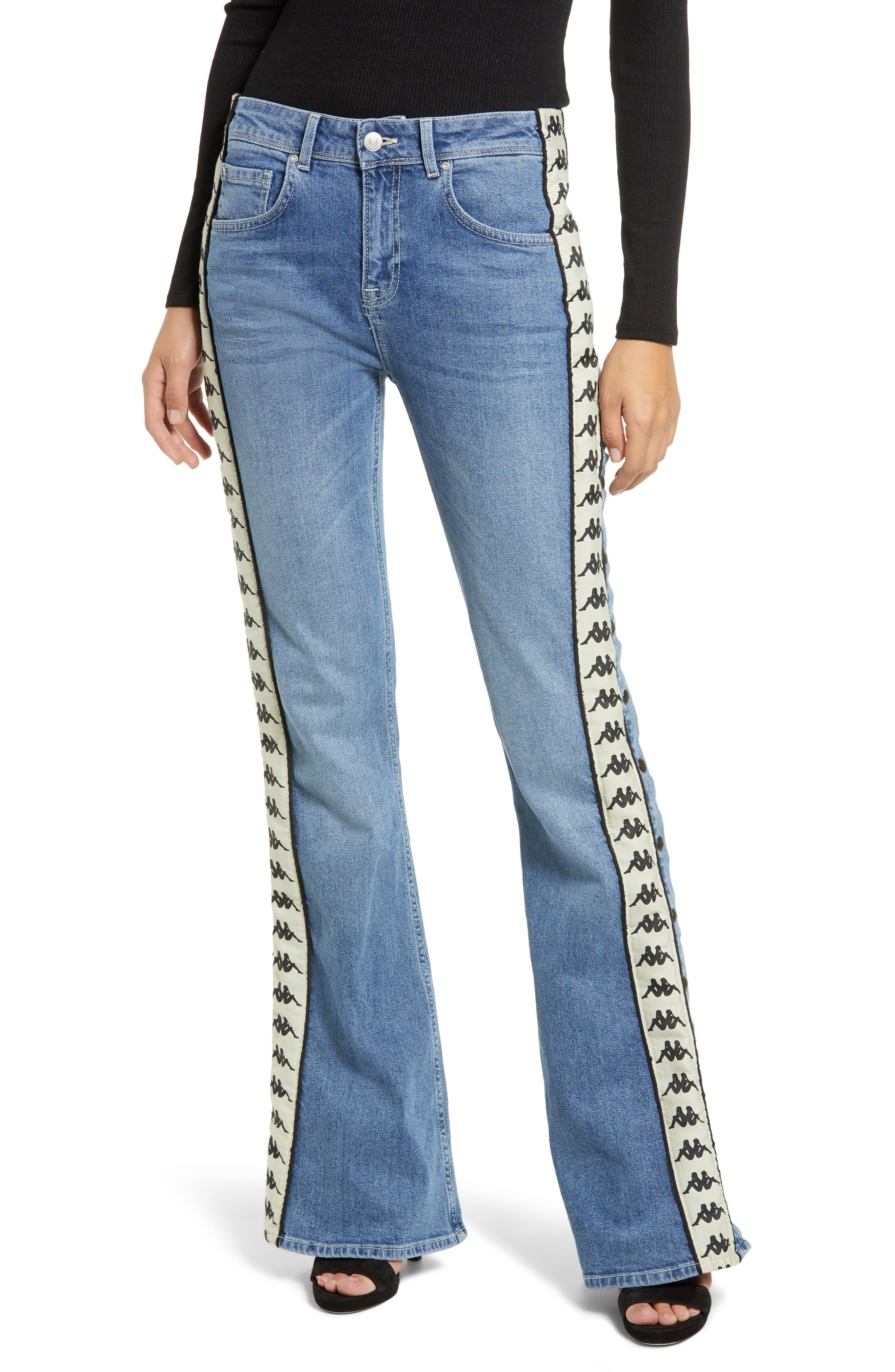 Authentic Brigit Flare Leg Jeans,                         Main,                         color, LIGHT COBALT/ BEIGE