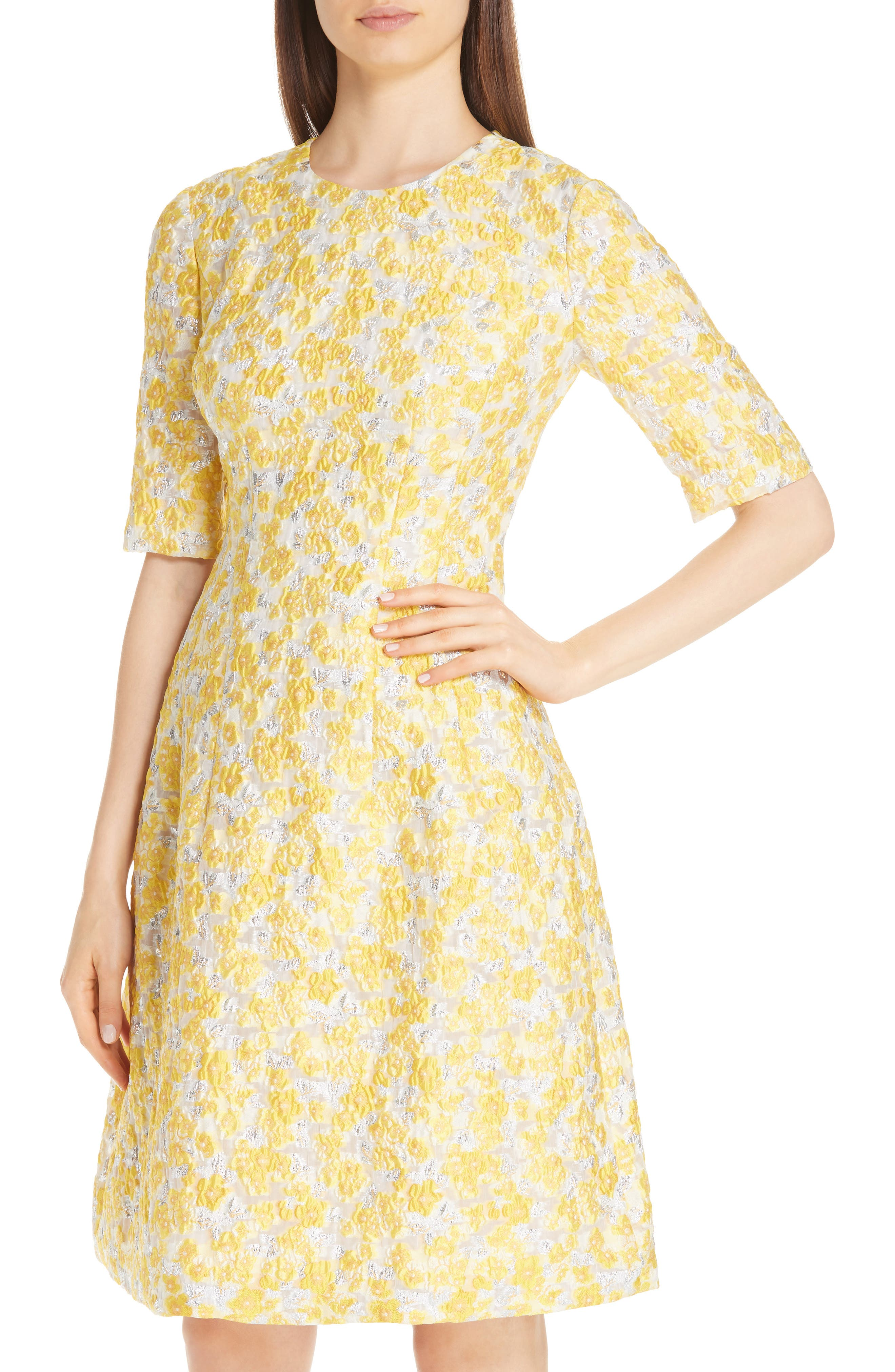 Holly Metallic Floral Fil Coupé Fit & Flare Dress,                             Alternate thumbnail 4, color,                             YELLOW
