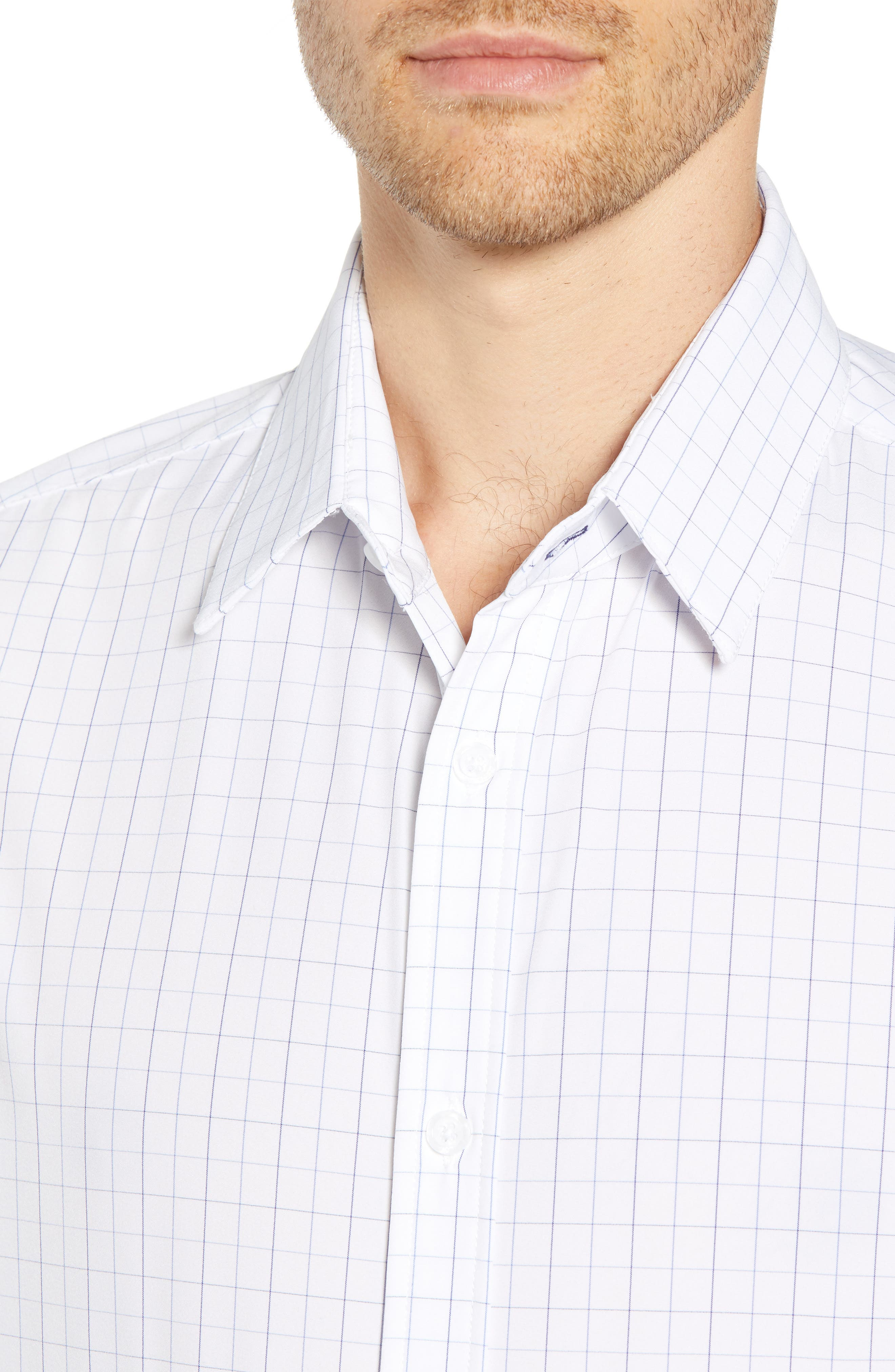 Buckner Slim Fit Grid Performance Sport Shirt,                             Alternate thumbnail 4, color,                             400