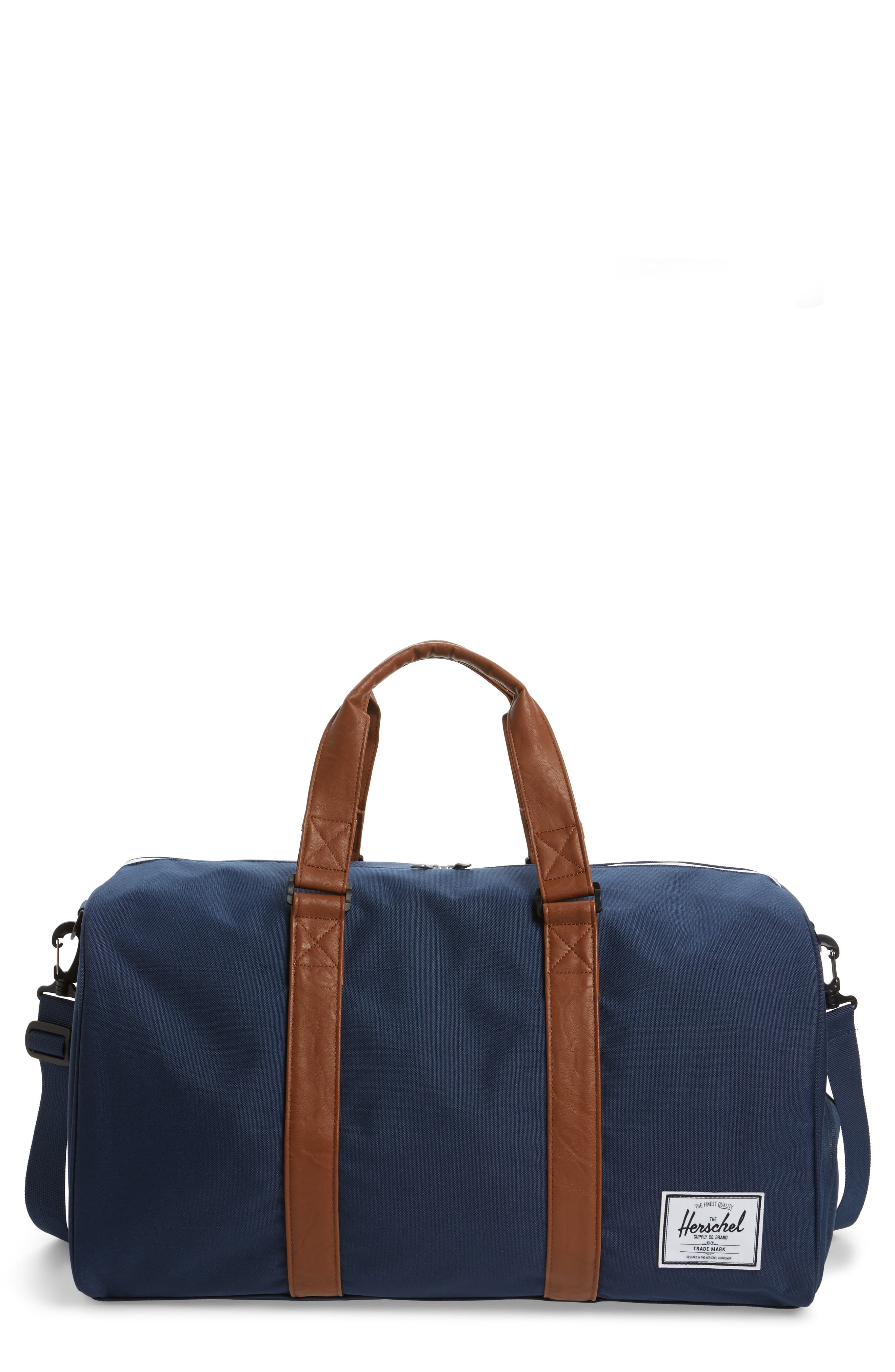 'Novel' Duffel Bag - Blue in Navy/ Tan