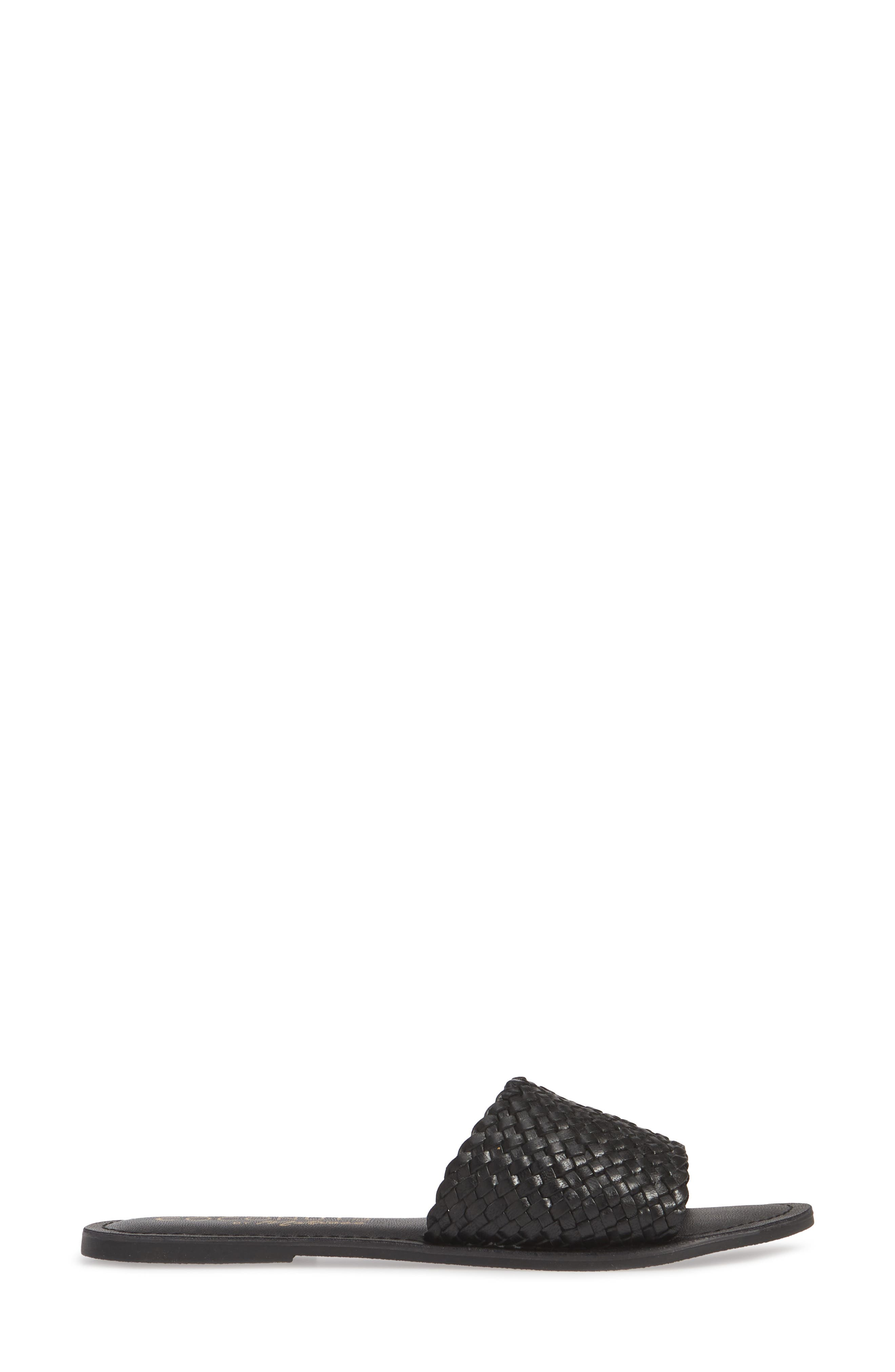 COCONUTS BY MATISSE,                             Zuma Woven Slide Sandal,                             Alternate thumbnail 3, color,                             BLACK LEATHER