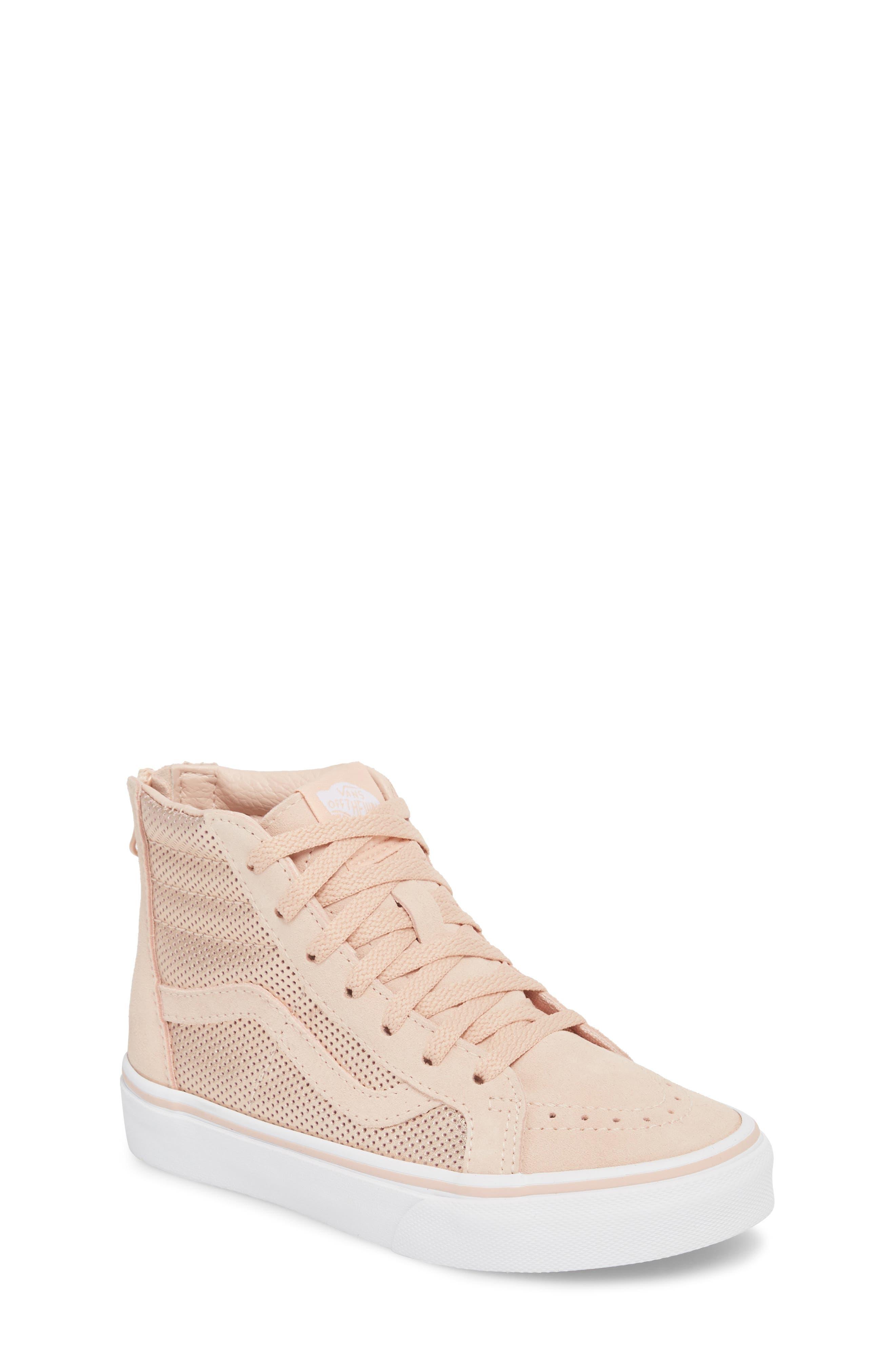 SK8-Hi Zip Sneaker,                         Main,                         color, ROSE GOLD SUEDE LEATHER