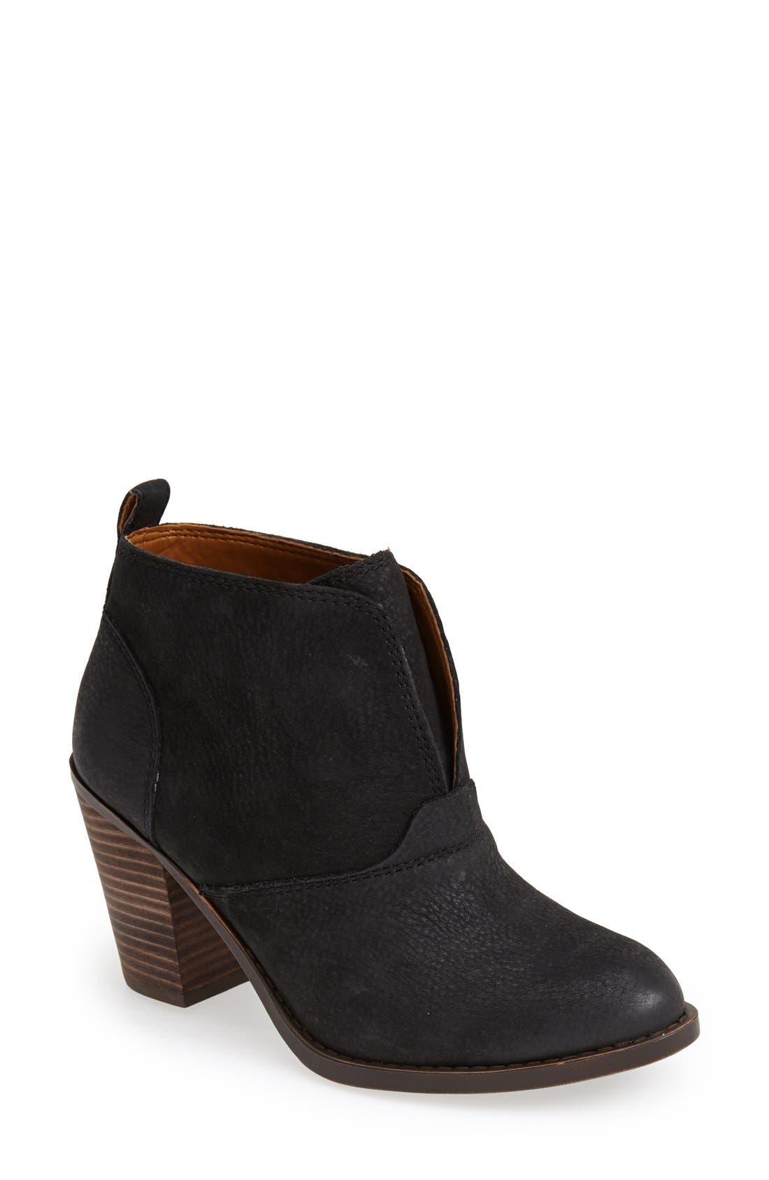 'Ehllen' Textured Leather Bootie, Main, color, 001