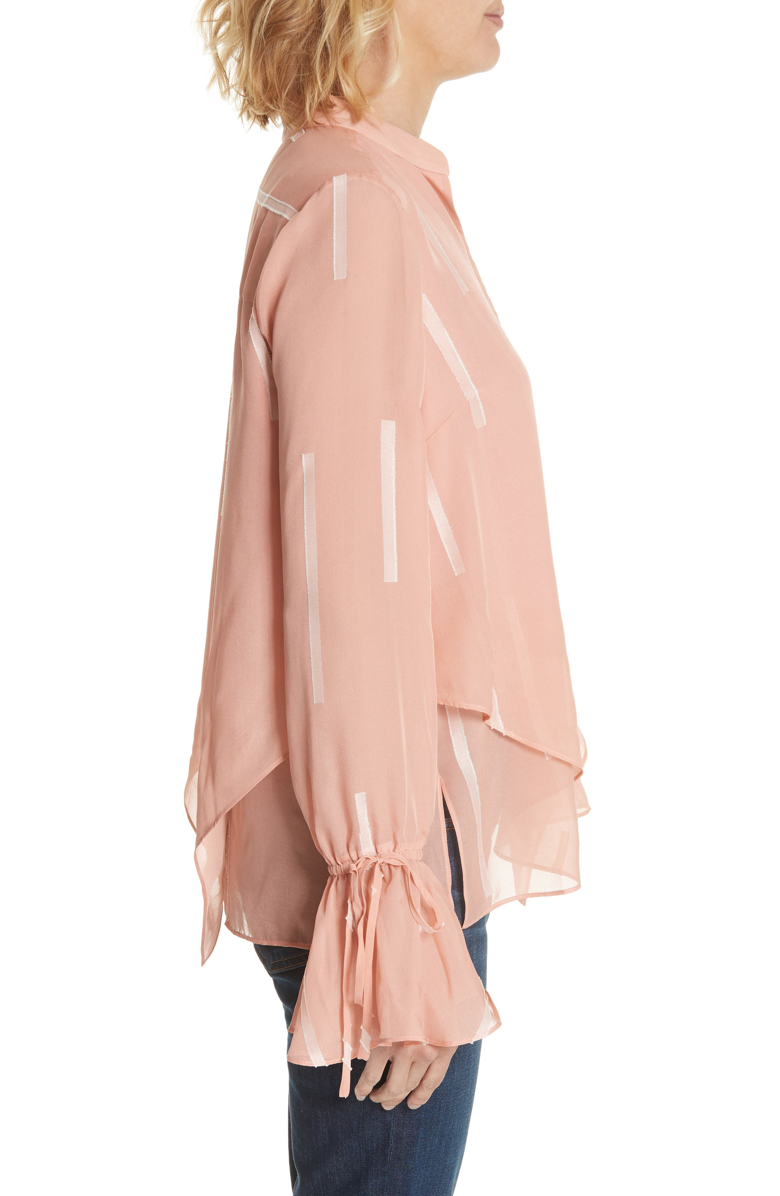 Clipped Stripe Handkerchief Silk Blend Blouse,                             Alternate thumbnail 3, color,                             DUSTY ROSE