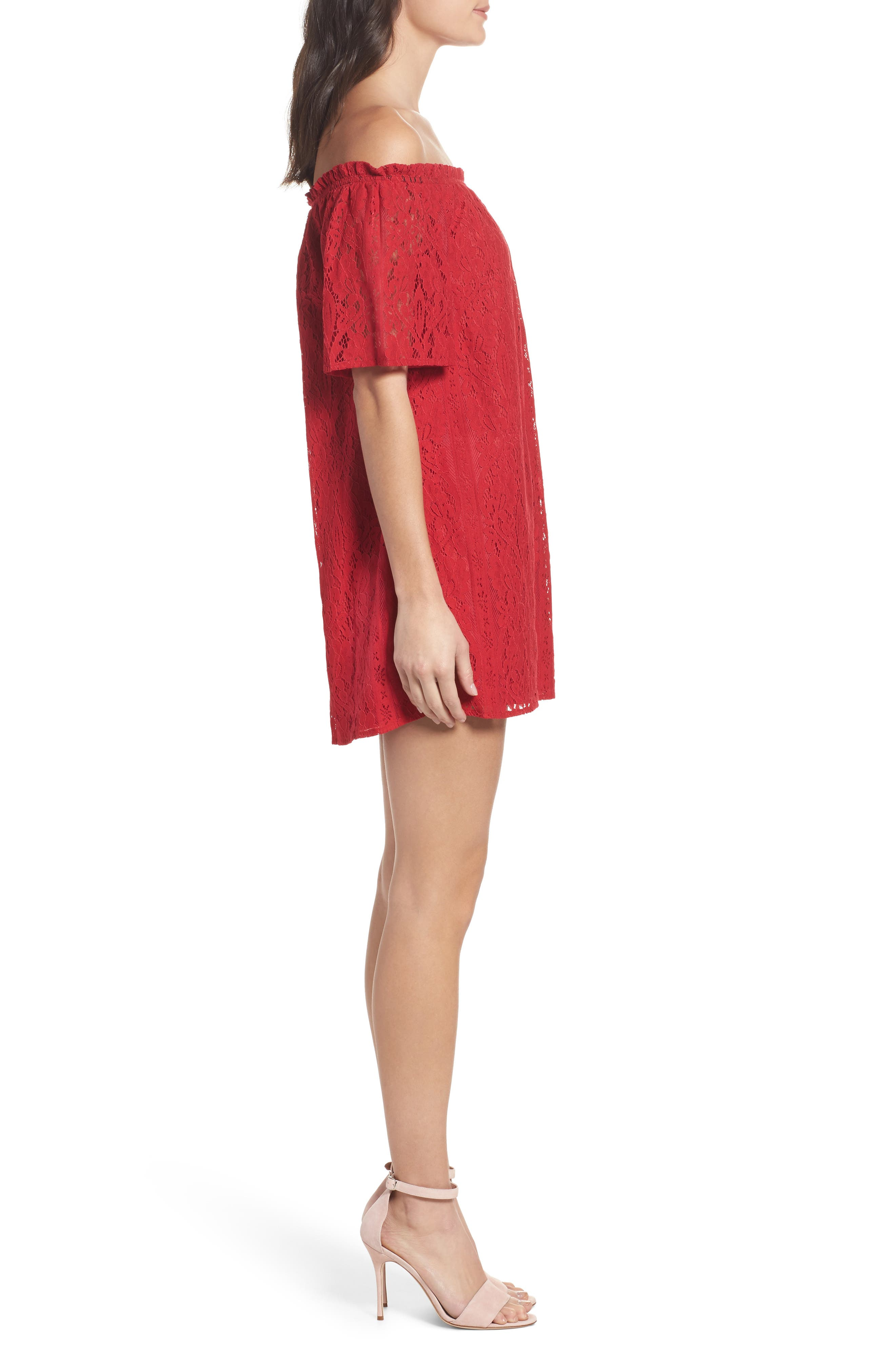 Erica Off the Shoulder Lace Shift Dress,                             Alternate thumbnail 3, color,                             600