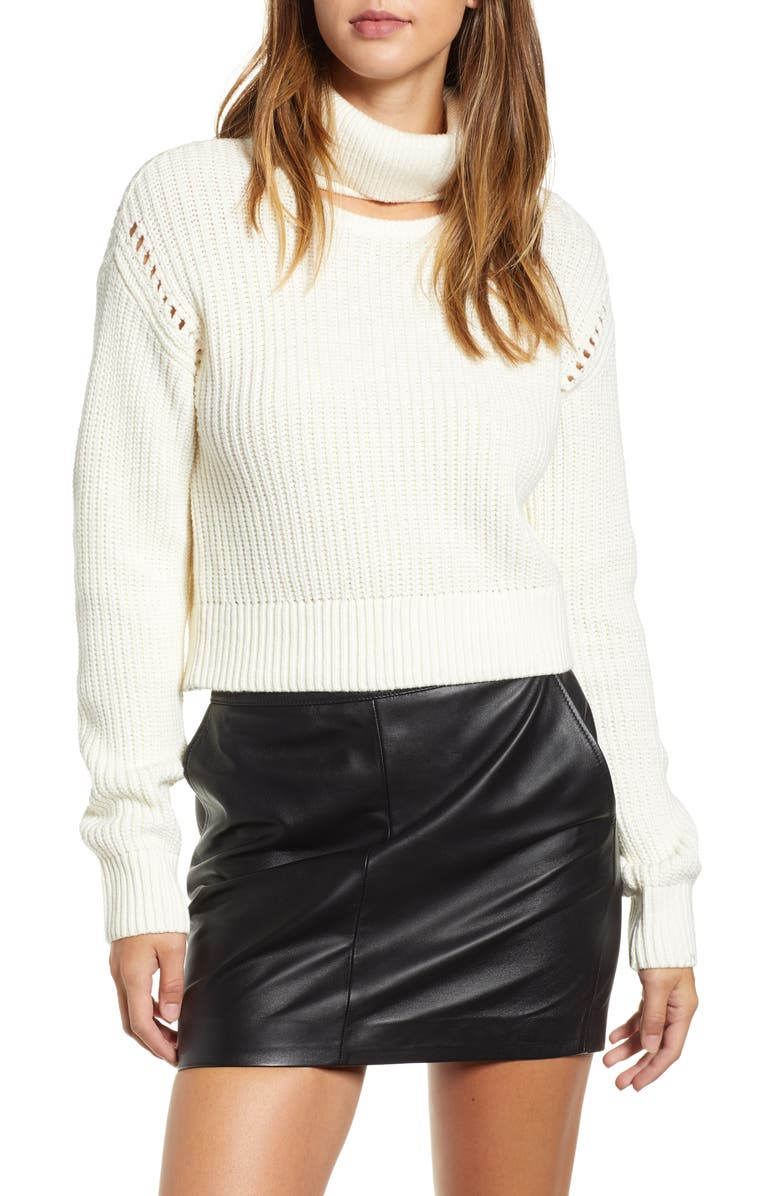 Kendall + Kylie MOCK NECK CHOKER PULLOVER