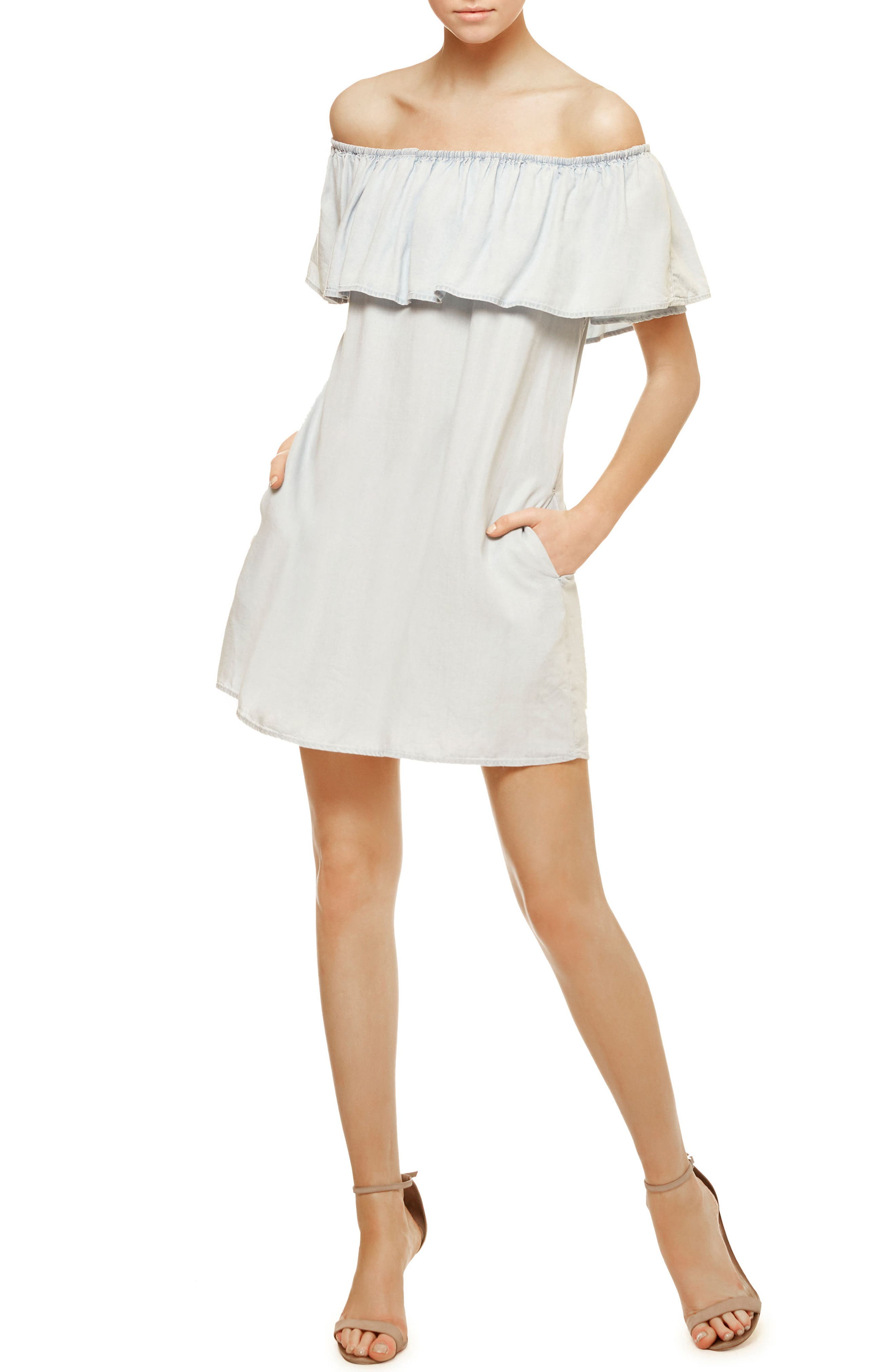 Stella Chambray Off the Shoulder Dress,                             Main thumbnail 1, color,                             400