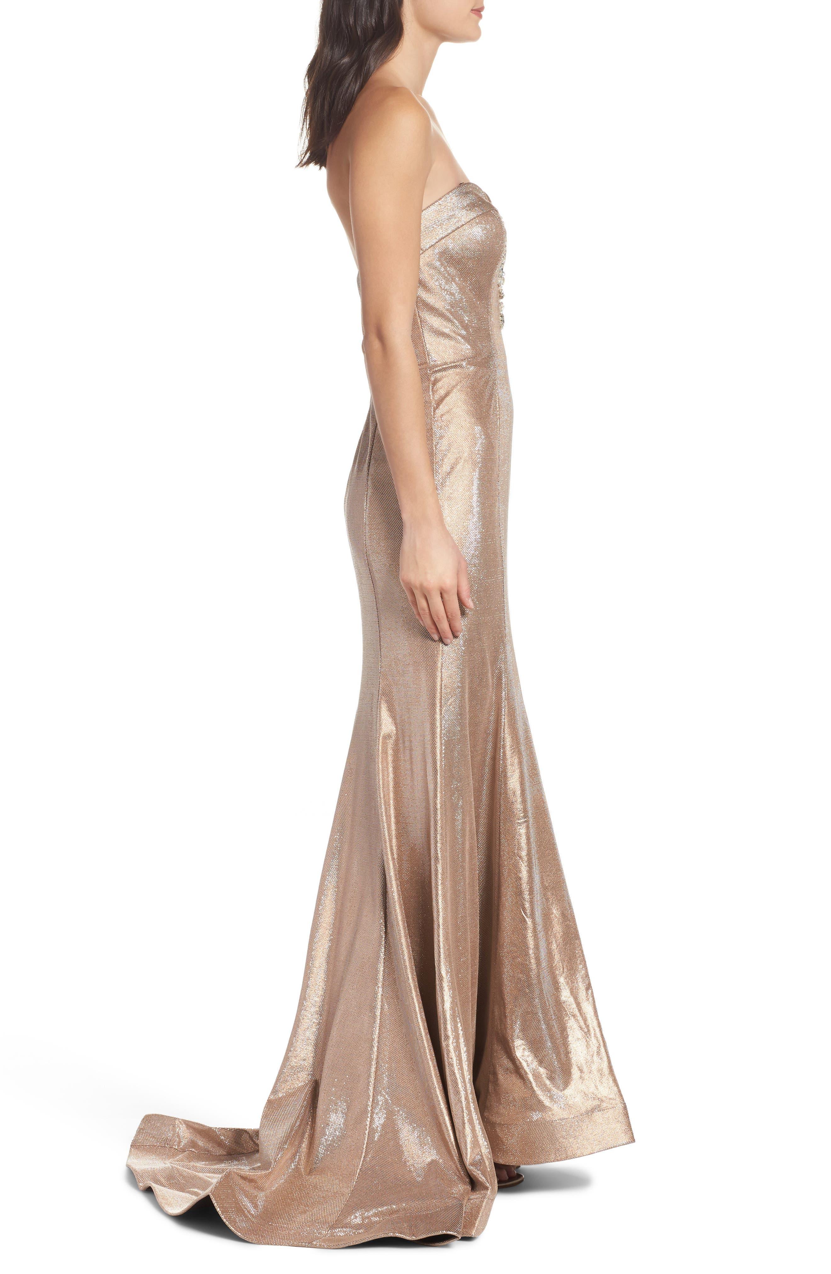 Metallic Mermaid Gown,                             Alternate thumbnail 3, color,