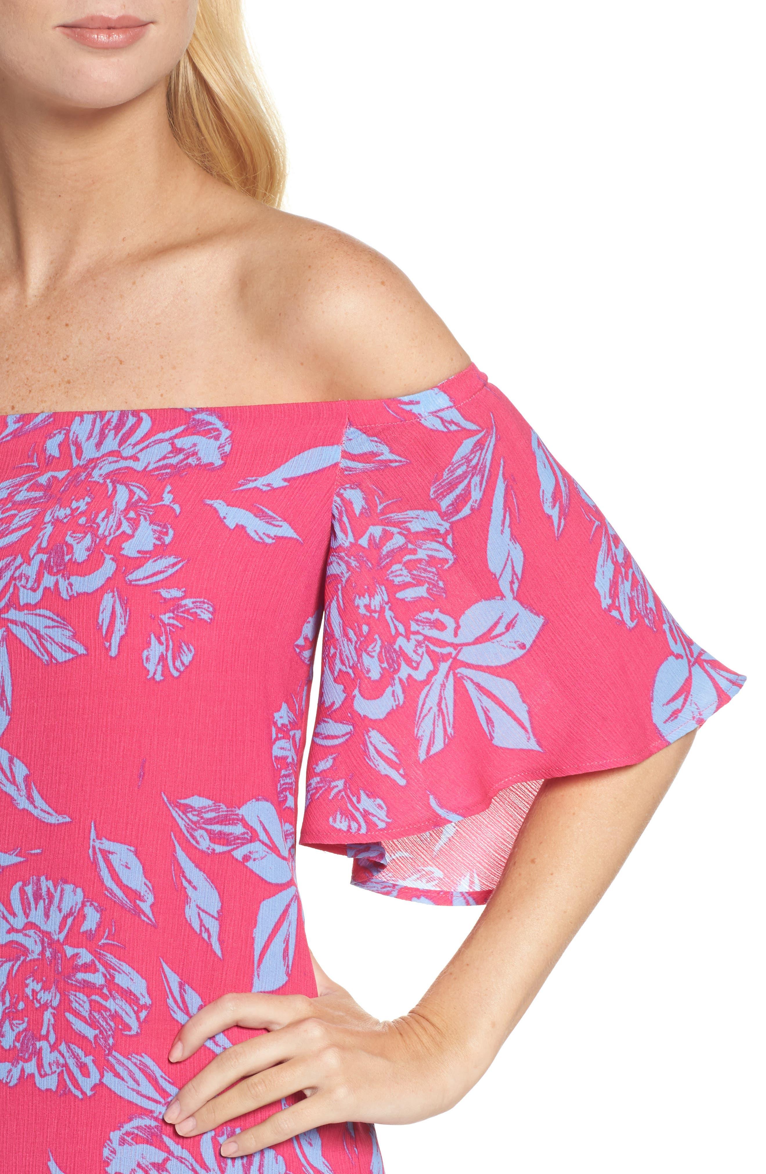 Off the Shoulder Print Shift Dress,                             Alternate thumbnail 4, color,                             660