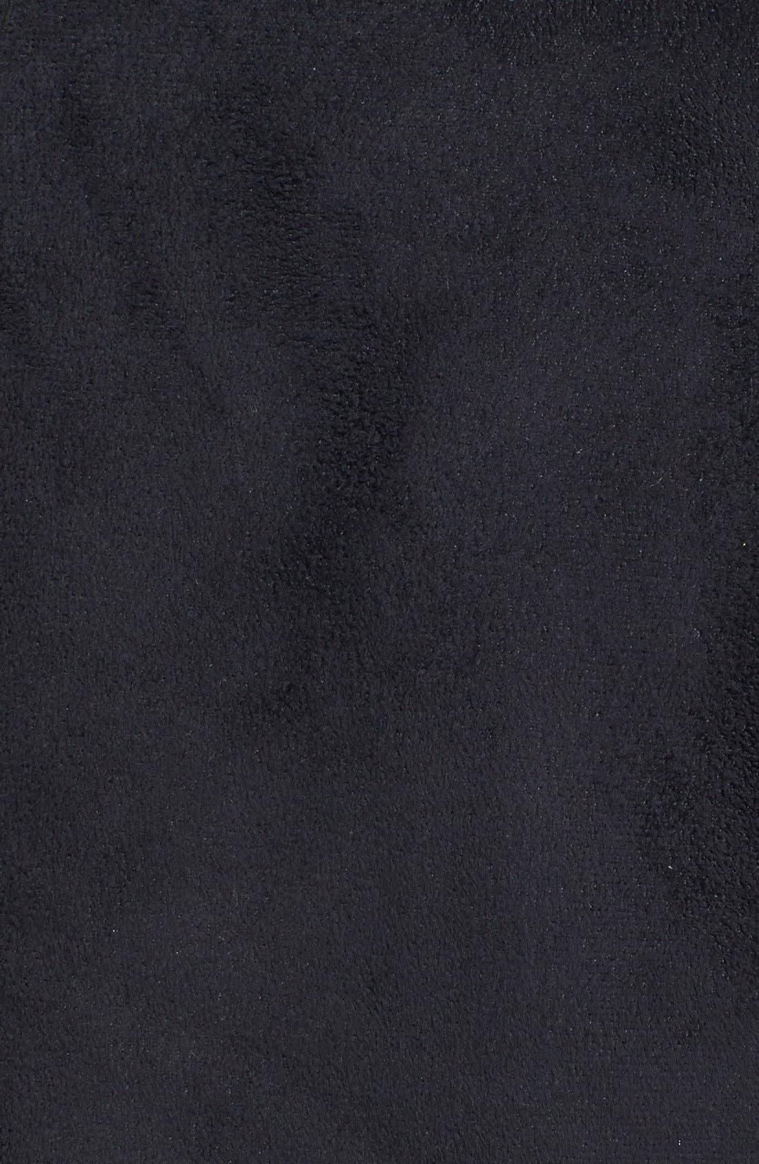 Faux Fur Trim Faux Suede Jacket,                             Alternate thumbnail 3, color,                             001
