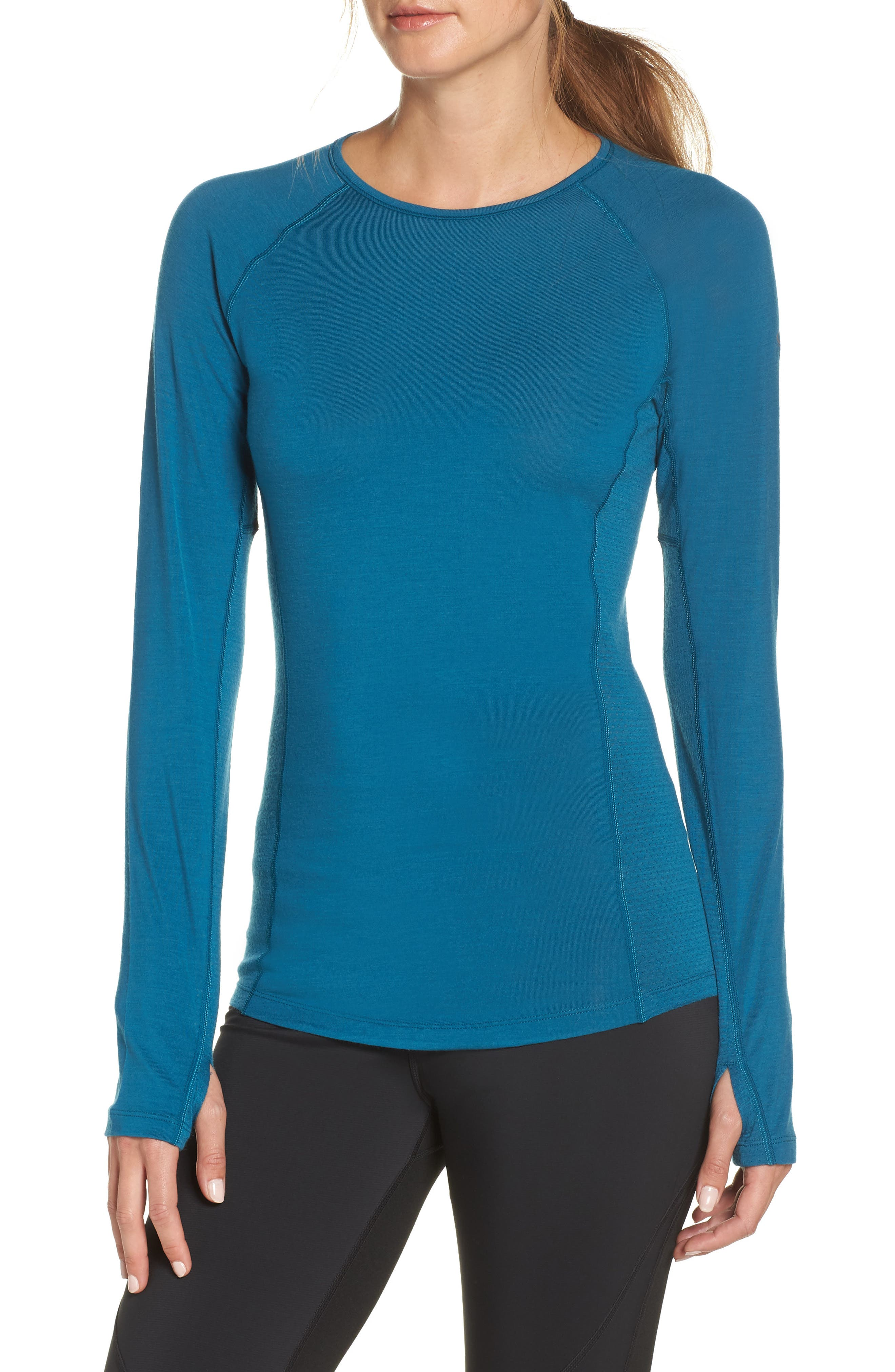 BodyfitZONE<sup>™</sup> 150 Zone Merino Wool Blend Base Layer Tee,                             Main thumbnail 1, color,                             KING FISCHER/ ARCTIC TEAL