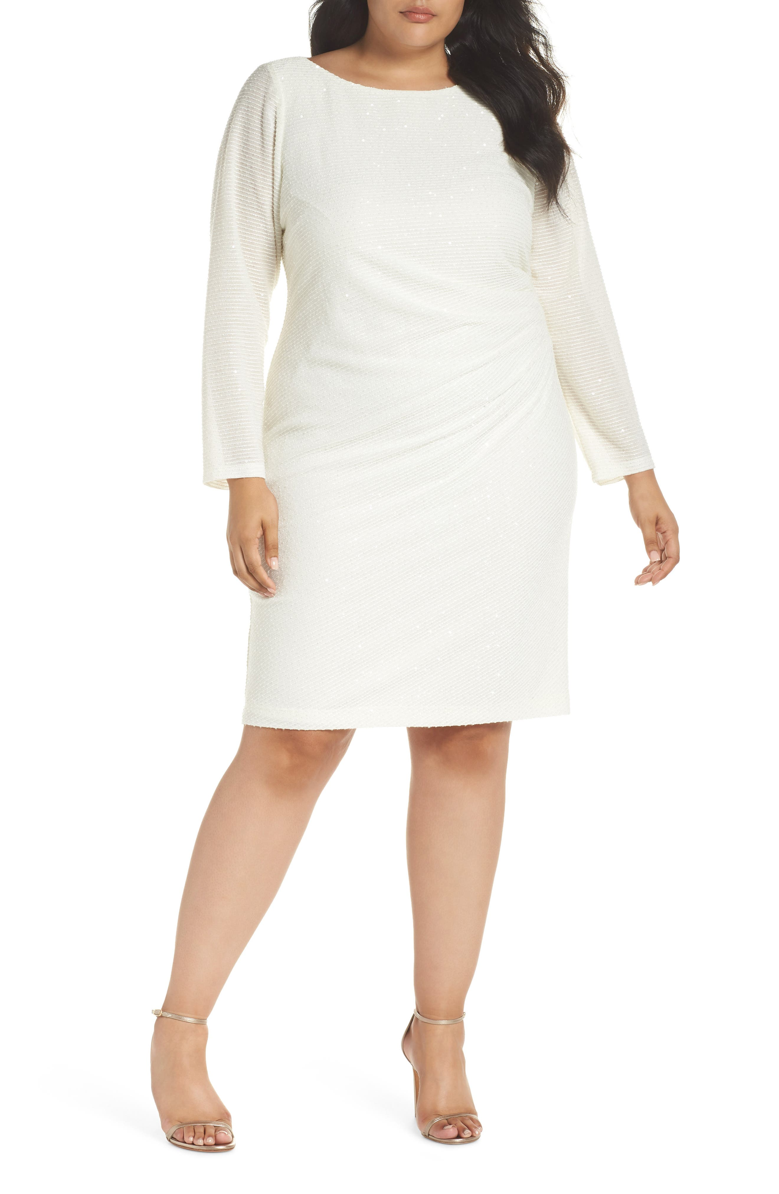 Sequin & Ruched Body-Con Dress,                         Main,                         color, IVORY